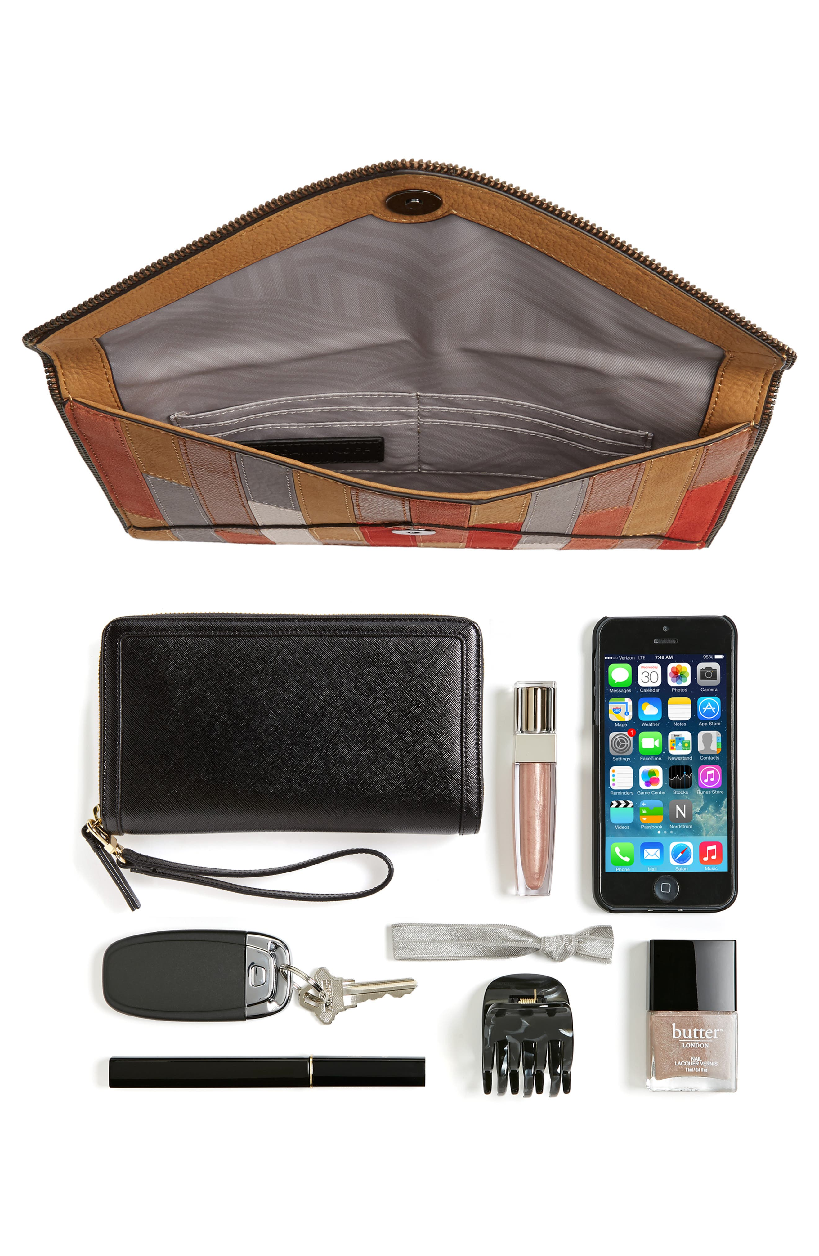 REBECCA MINKOFF,                             Leo Leather Envelope Clutch,                             Alternate thumbnail 3, color,                             210