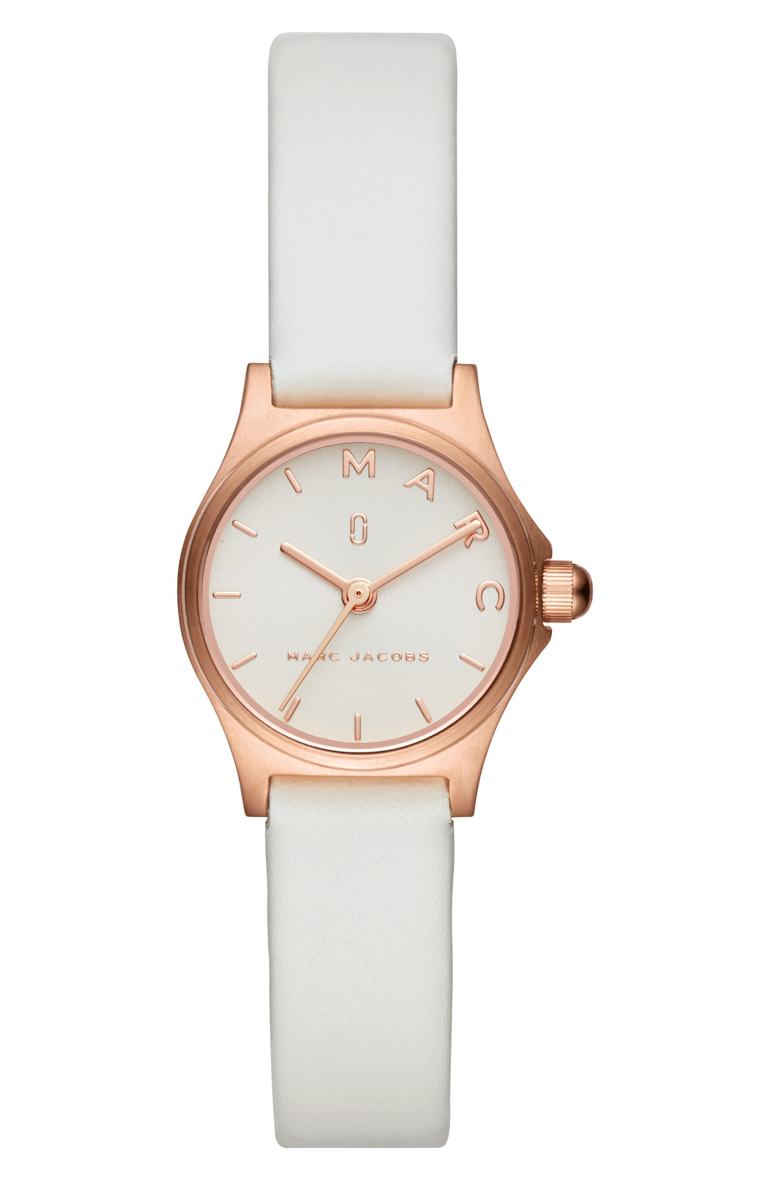 Henry Leather Strap Watch, 26mm,                         Main,                         color, WHITE/ ROSE GOLD