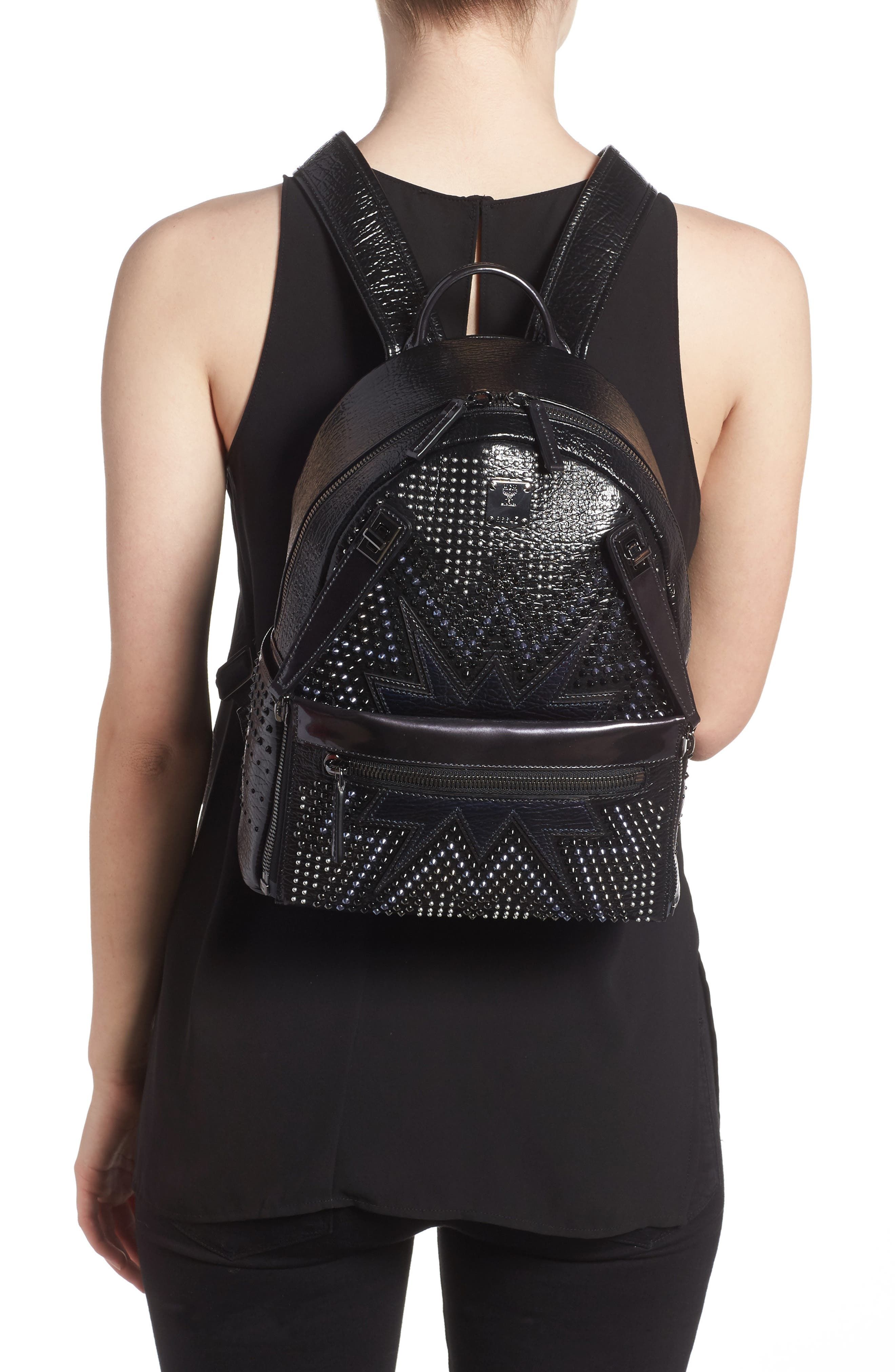 Dual Stark Studded Leather Backpack,                             Alternate thumbnail 3, color,