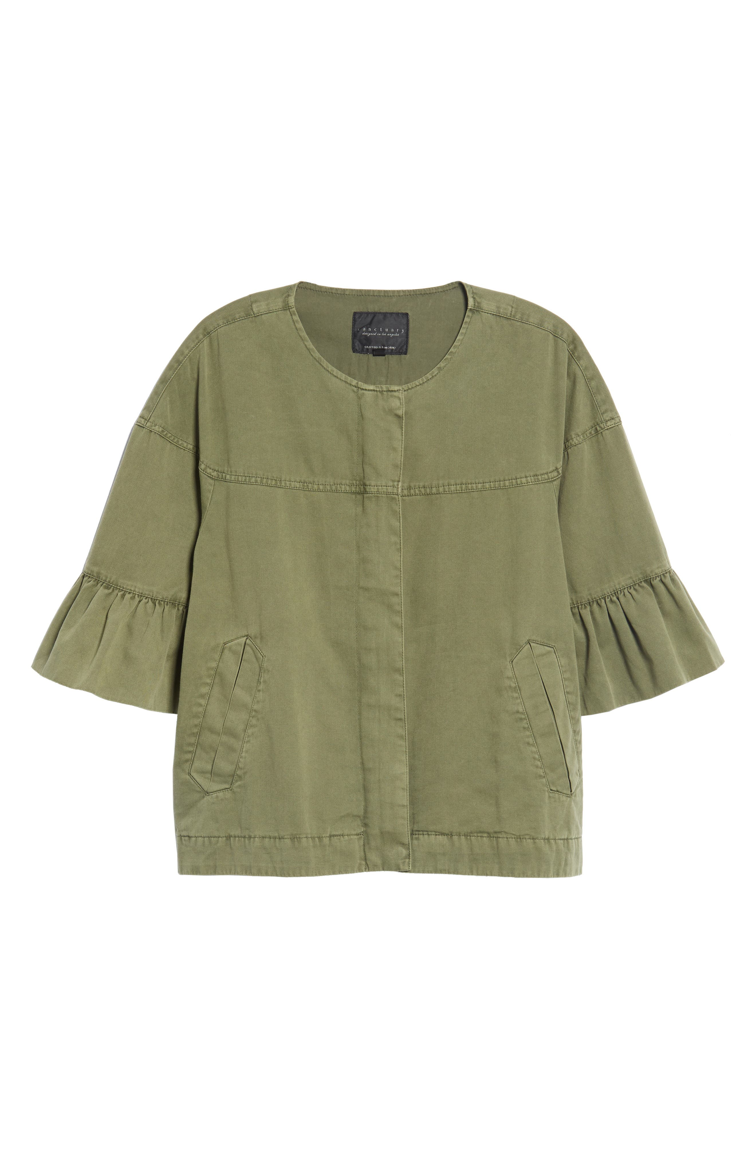 Scout Ruffle Sleeve Jacket,                             Alternate thumbnail 5, color,                             CADET