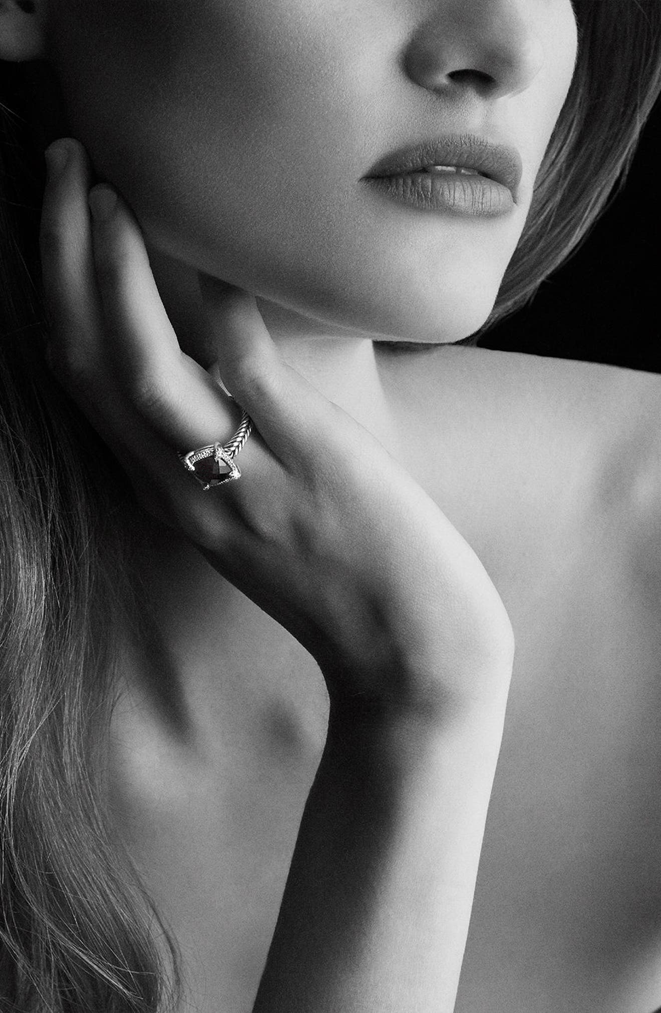 'Châtelaine' Small Pavé Bezel Ring with Diamonds,                             Alternate thumbnail 2, color,                             BLACK ONYX