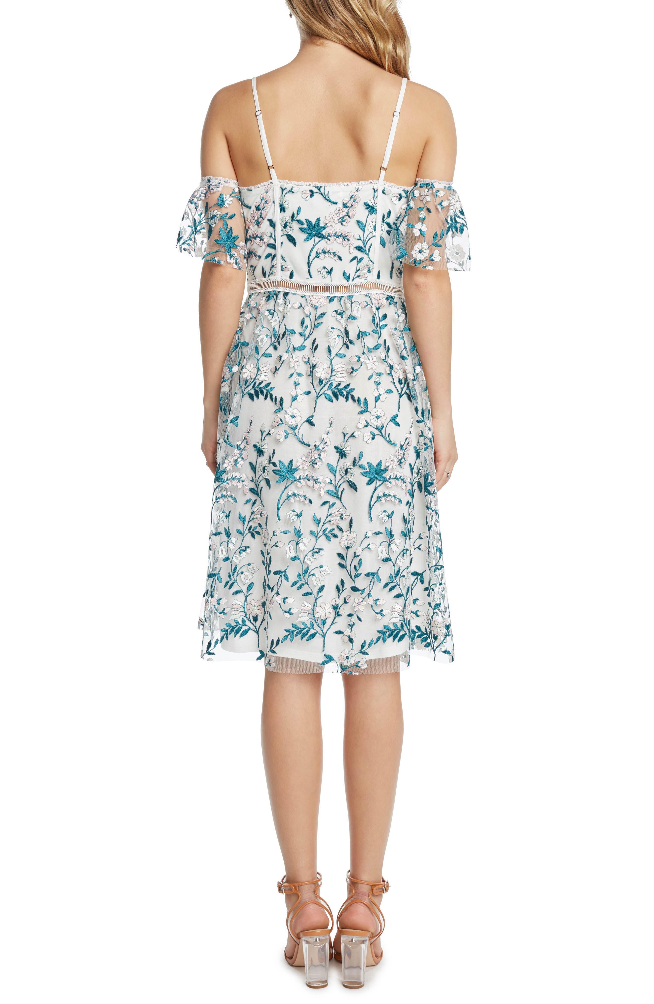 Embroidered Cold Shoulder Dress,                             Alternate thumbnail 2, color,