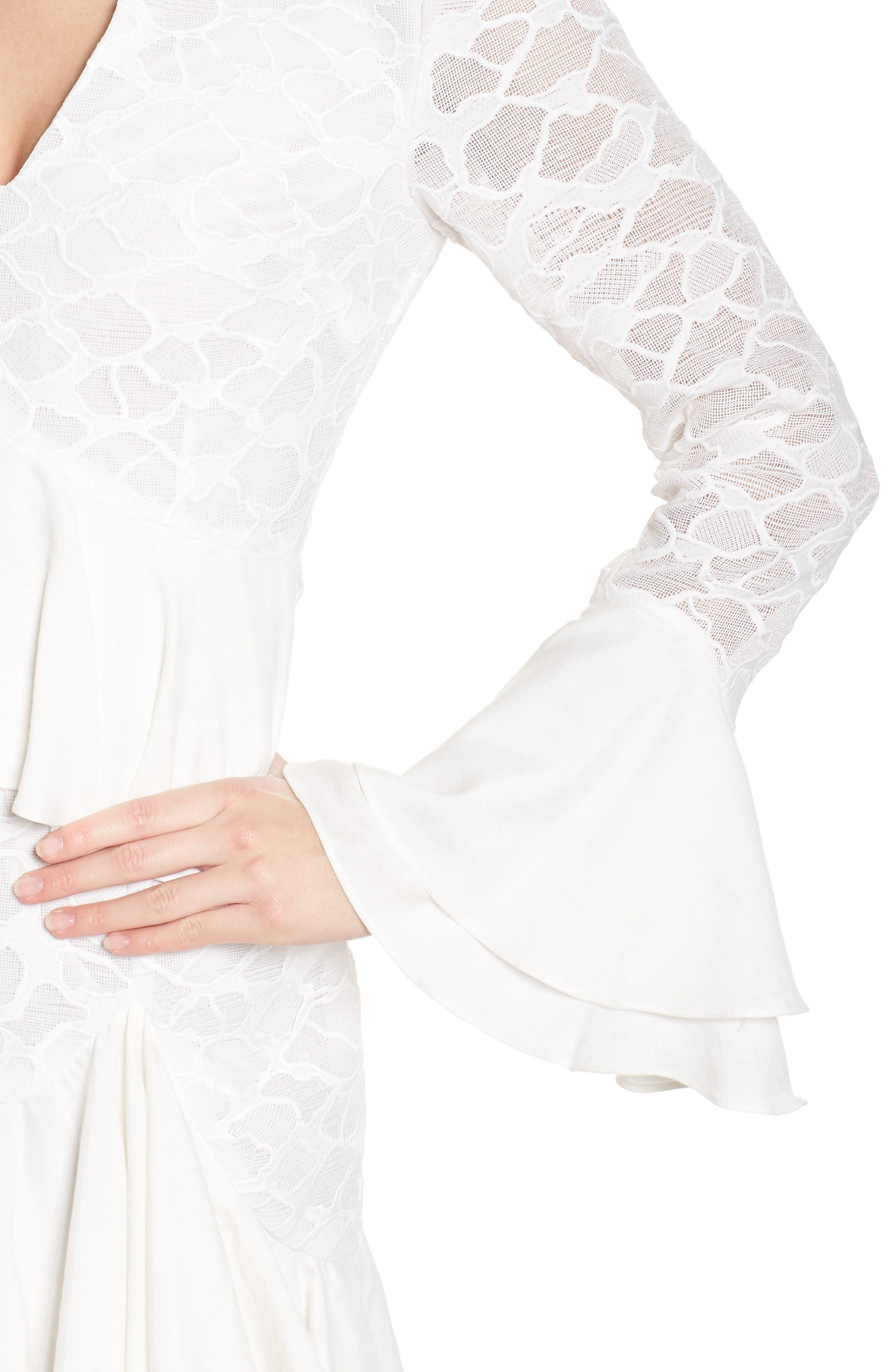 Phase Ruffle Lace Minidress,                             Alternate thumbnail 4, color,                             902