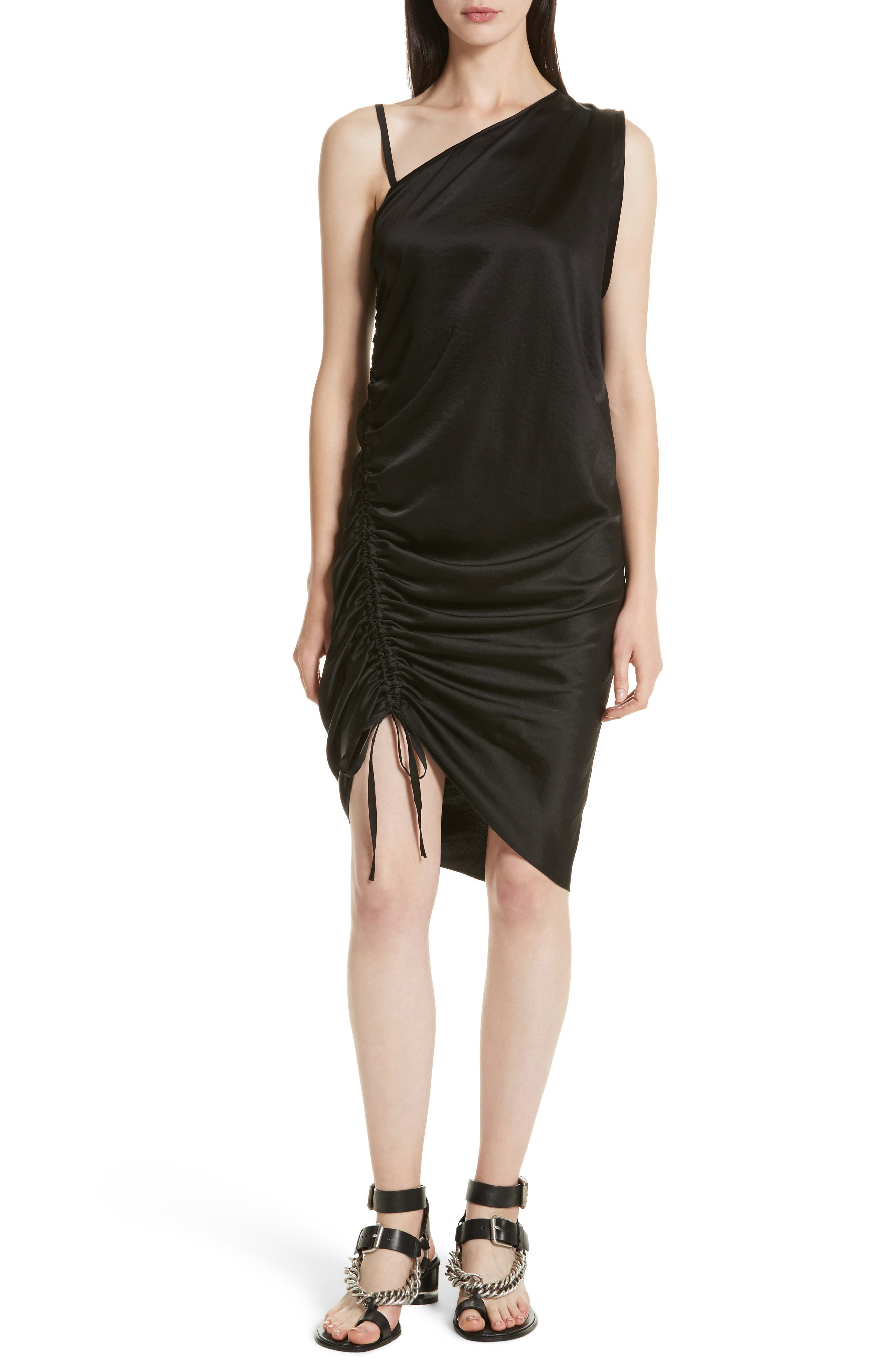 T by Alexander Wang Ruched Asymmetrical Dress,                             Main thumbnail 1, color,                             001