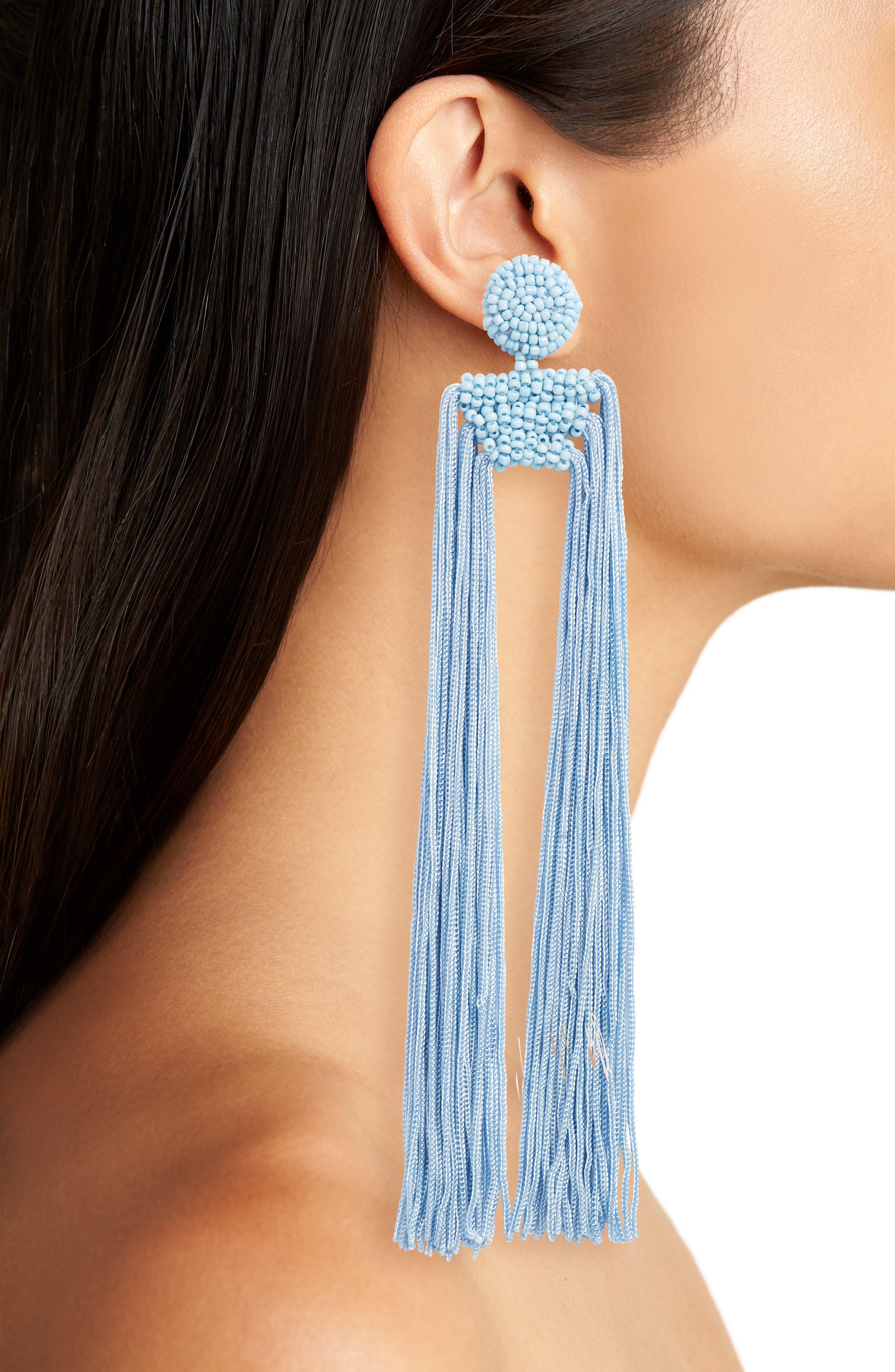 Tropicana Long Tassel Earrings,                             Alternate thumbnail 6, color,