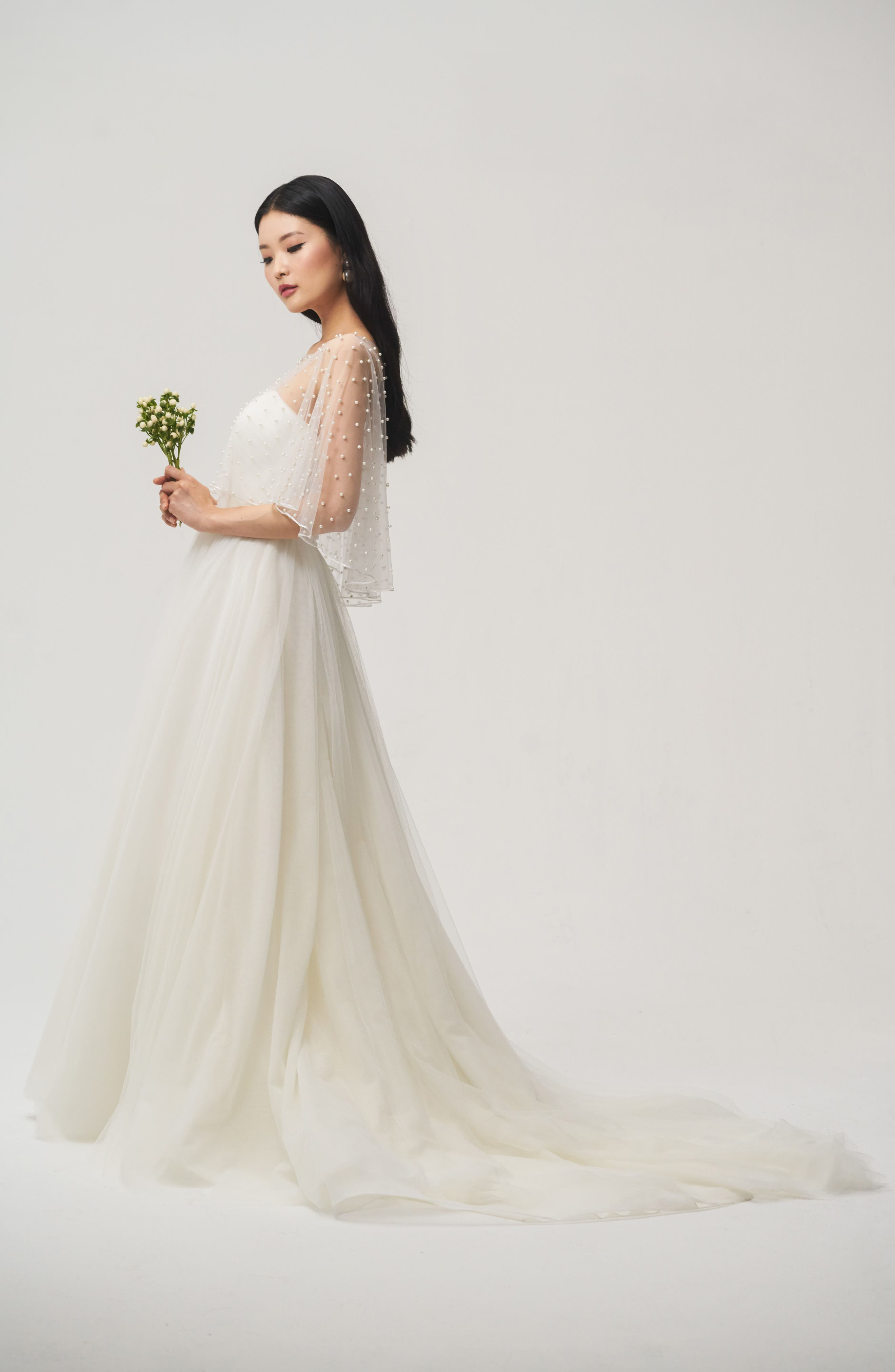 Jenny Yoo Fiona Imitation Pearl Tulle Top,                             Alternate thumbnail 2, color,                             IVORY
