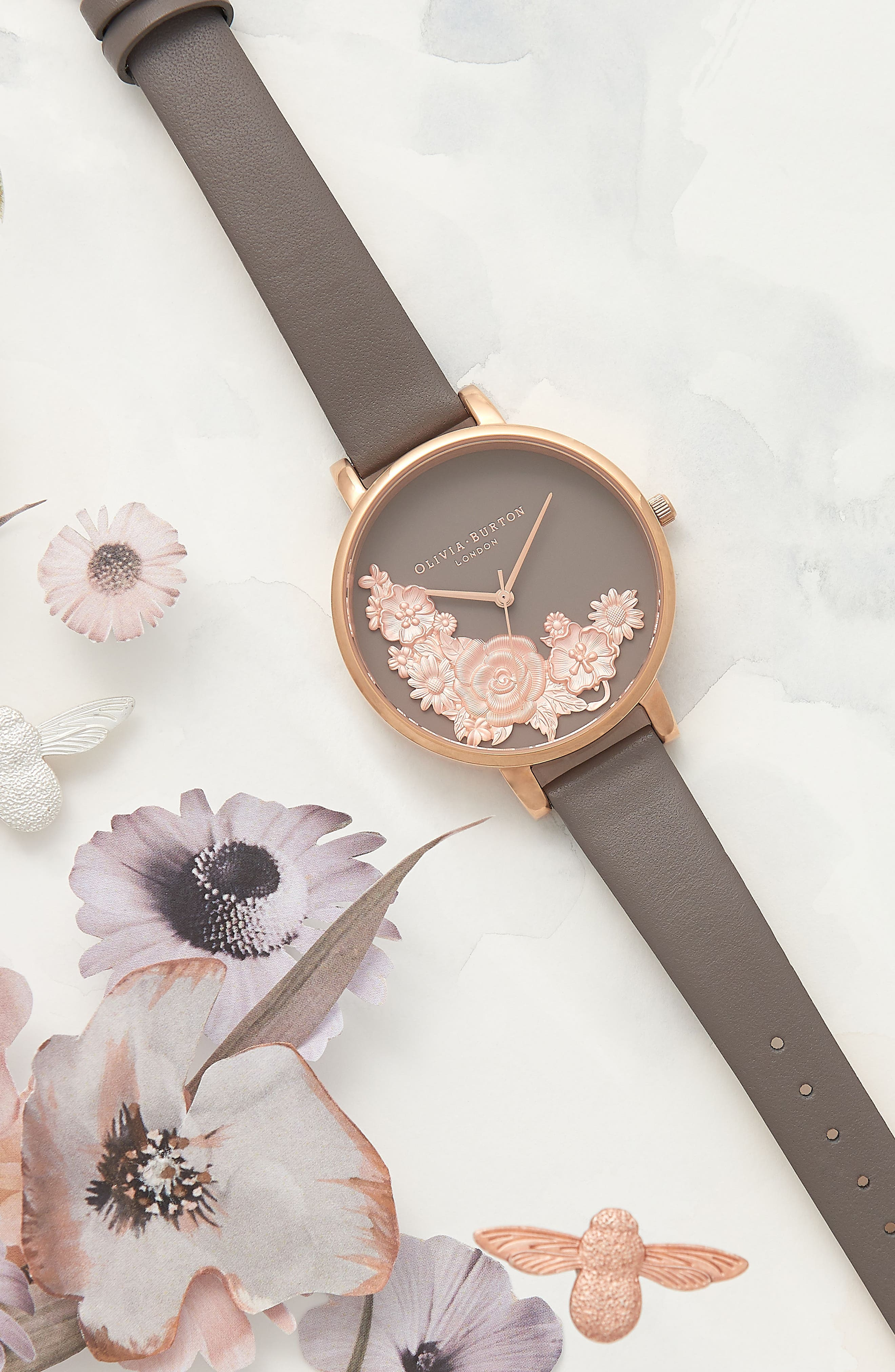 Floral Bouquet Leather Strap Watch, 38mm,                             Alternate thumbnail 7, color,                             LONDON GREY/ GREY/ ROSE GOLD