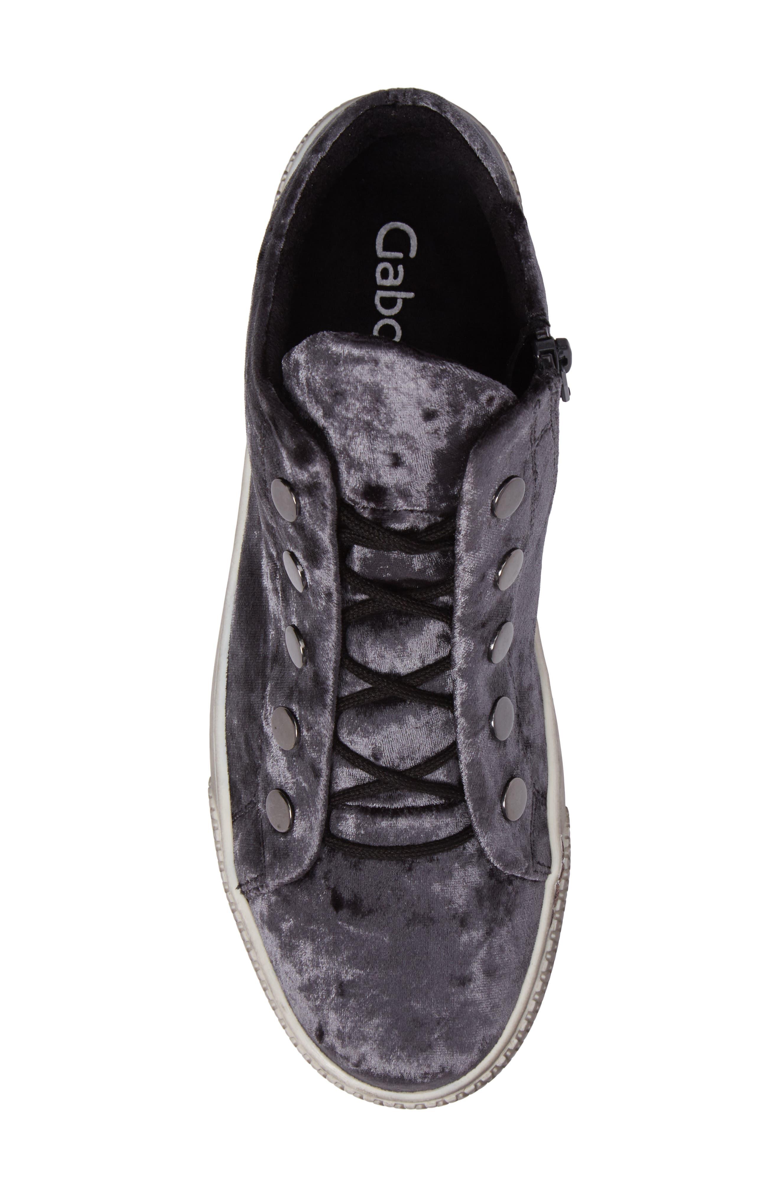 Mid Top Velvet Sneaker,                             Alternate thumbnail 5, color,                             GREY VELVET