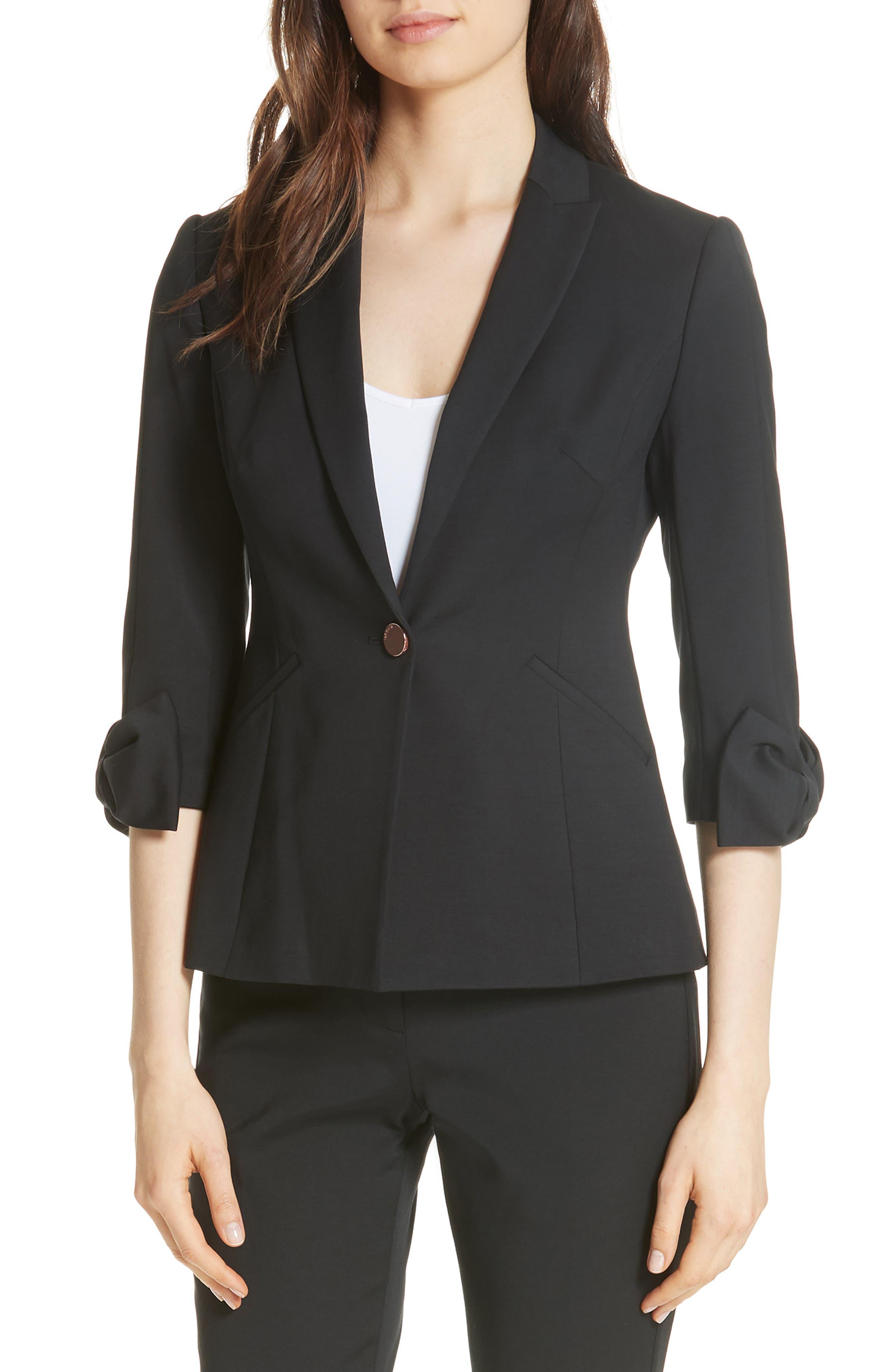 Toply Bow Cuff Jacket,                             Main thumbnail 1, color,                             BLACK