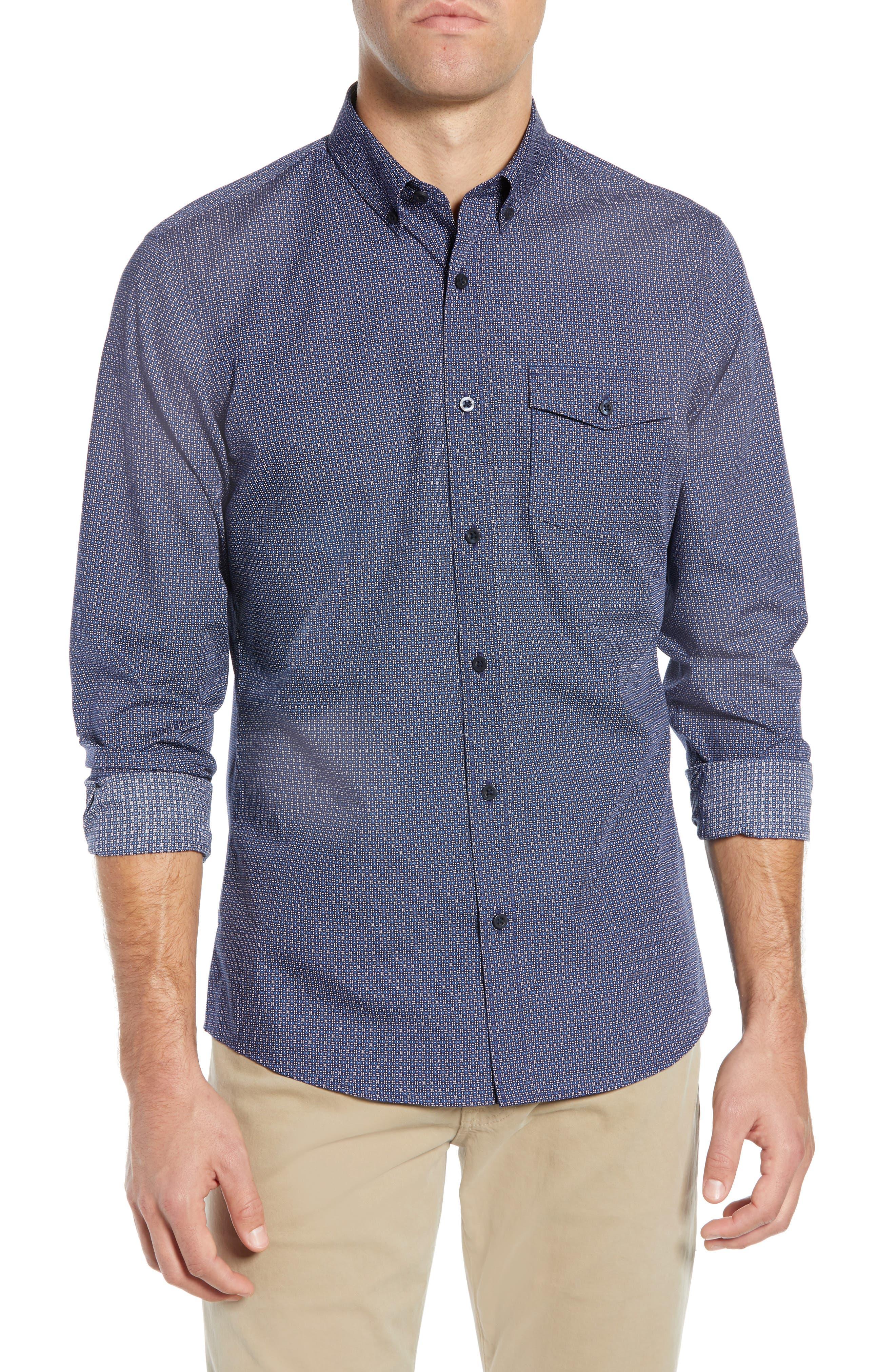 Nordstrom Shop Slim Fit Non-Iron Geo Print Sport Shirt