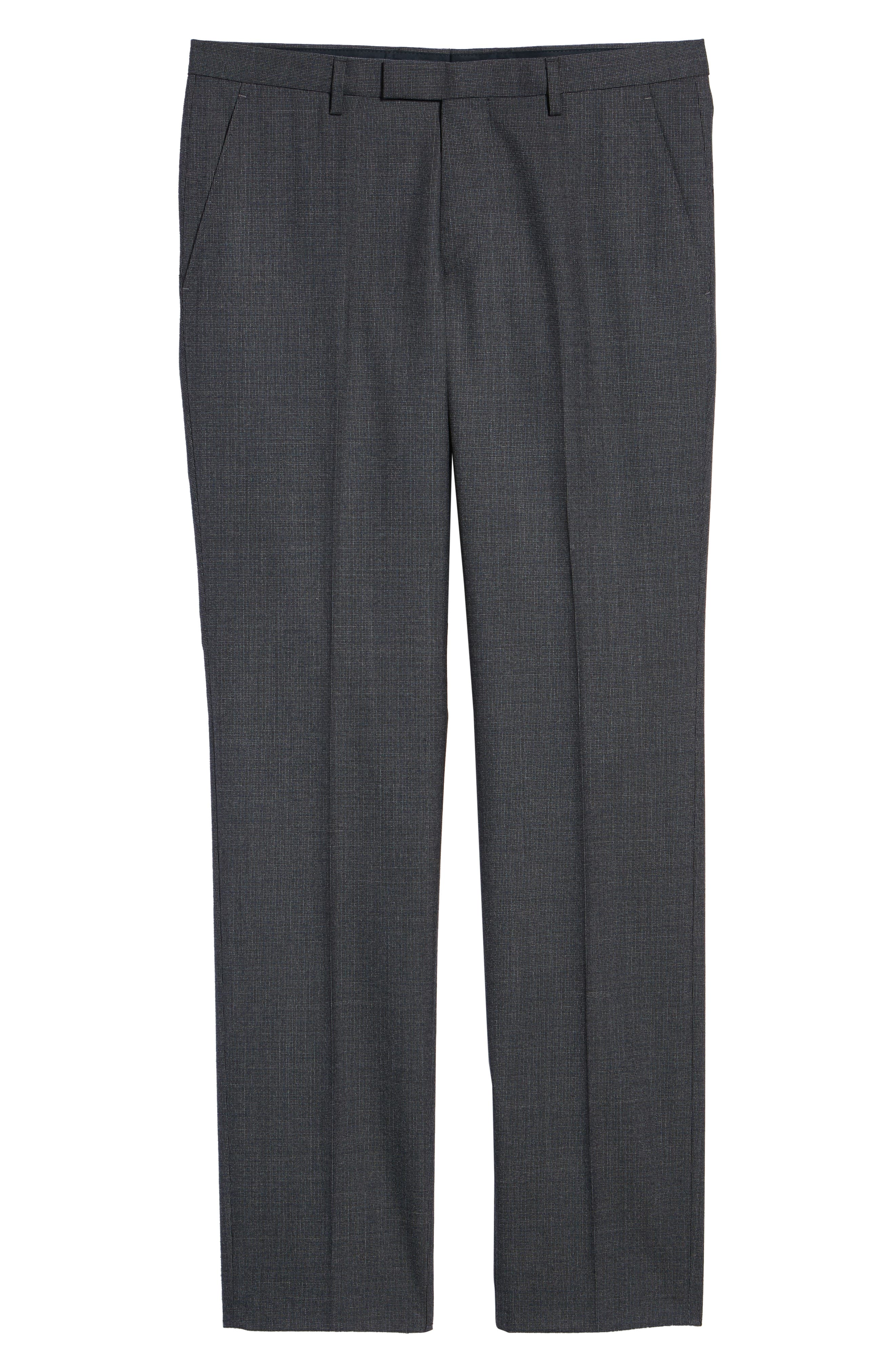 Leenon Flat Front Solid Wool Trousers,                             Alternate thumbnail 6, color,                             OPEN BLUE