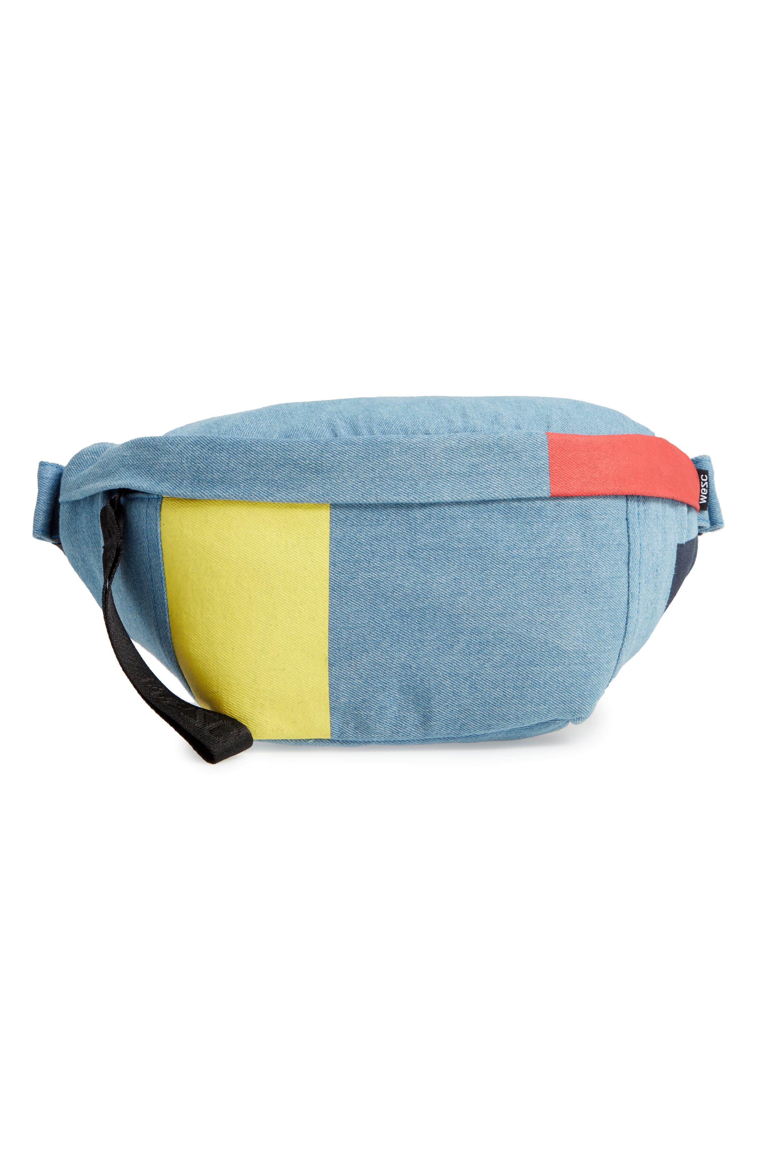 WESC Usher Colorblock Denim Belt Bag, Main, color, CERULEAN BLUE