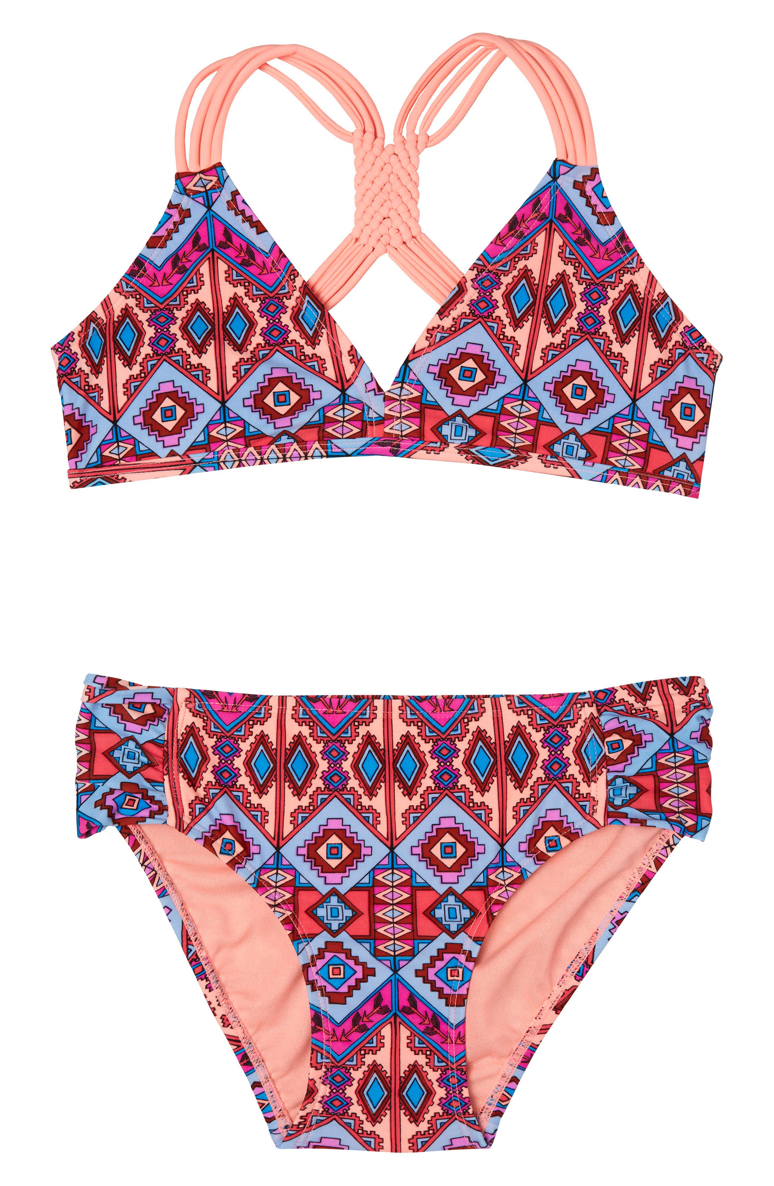 Brave Spirit Two-Piece Swimsuit,                             Main thumbnail 1, color,                             CORAL
