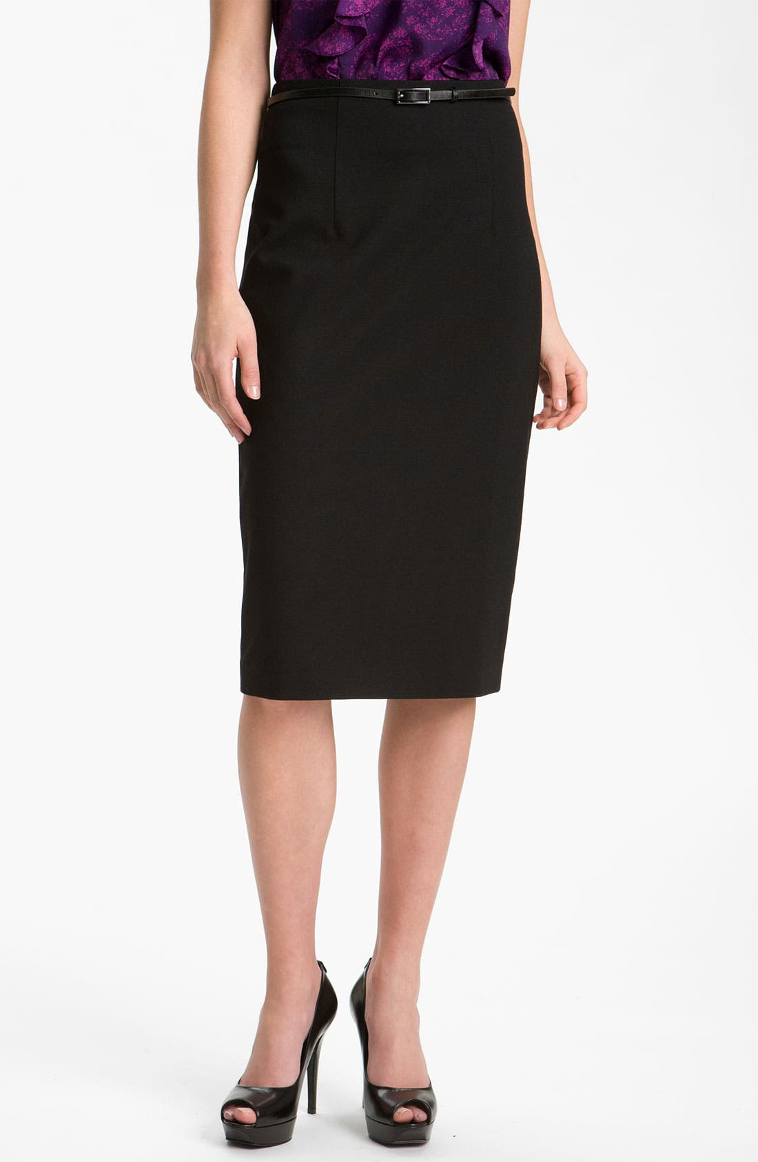 Belted Ponte Skirt,                             Main thumbnail 1, color,