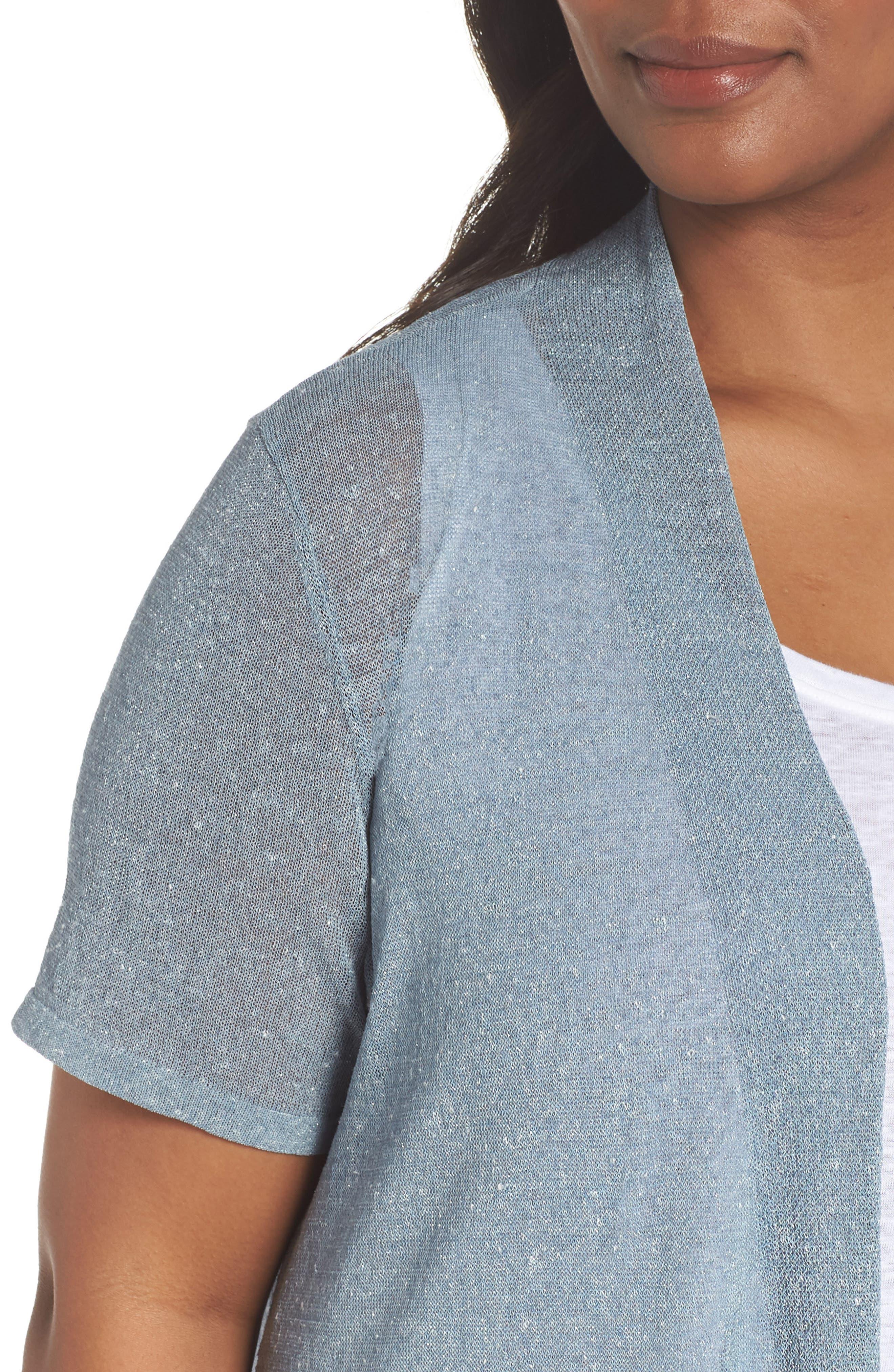 Long Organic Linen Blend Cardigan,                             Alternate thumbnail 4, color,                             454