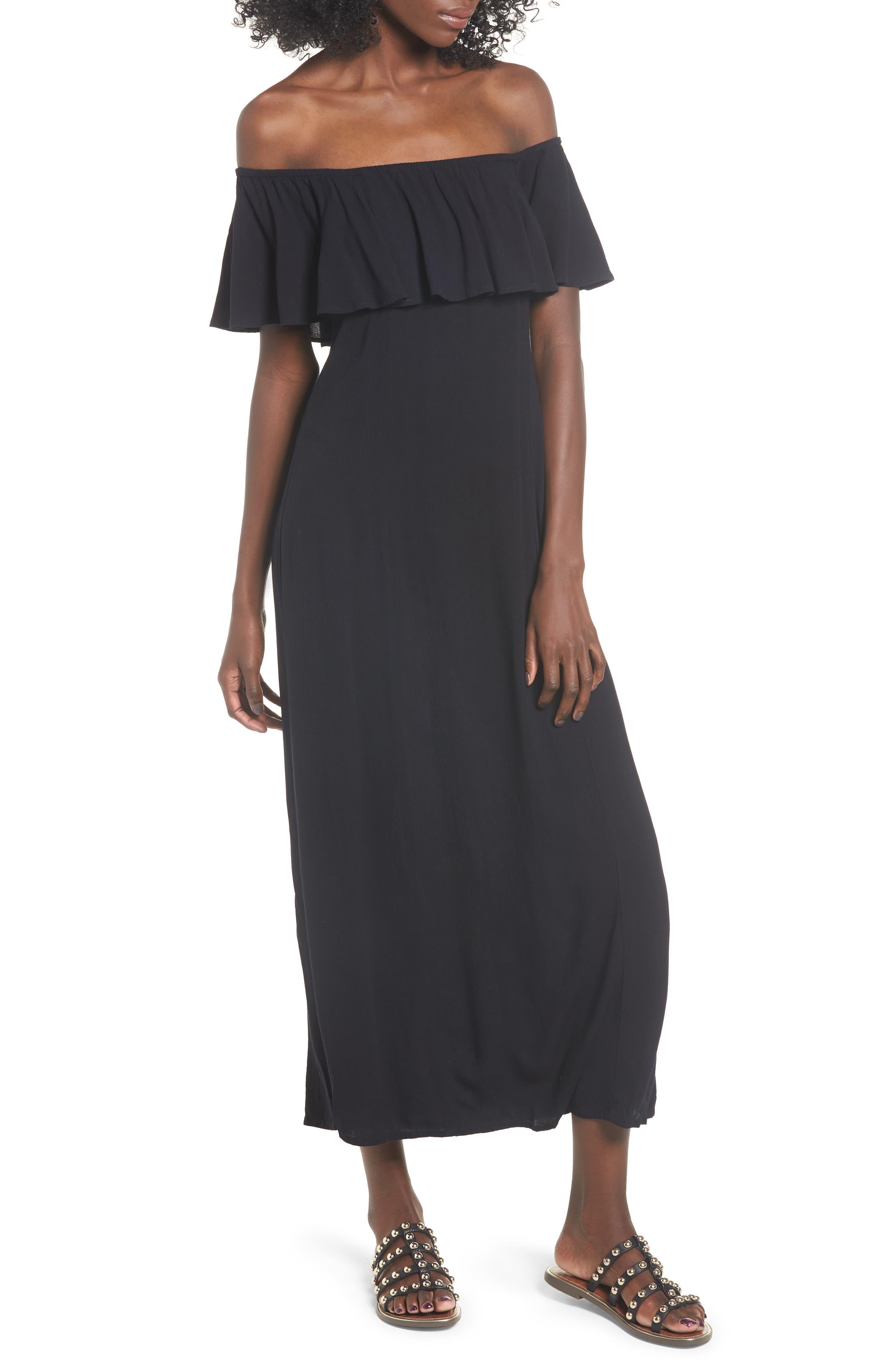 Vista Del Valle Off the Shoulder Ruffle Maxi Dress, Main, color, 001