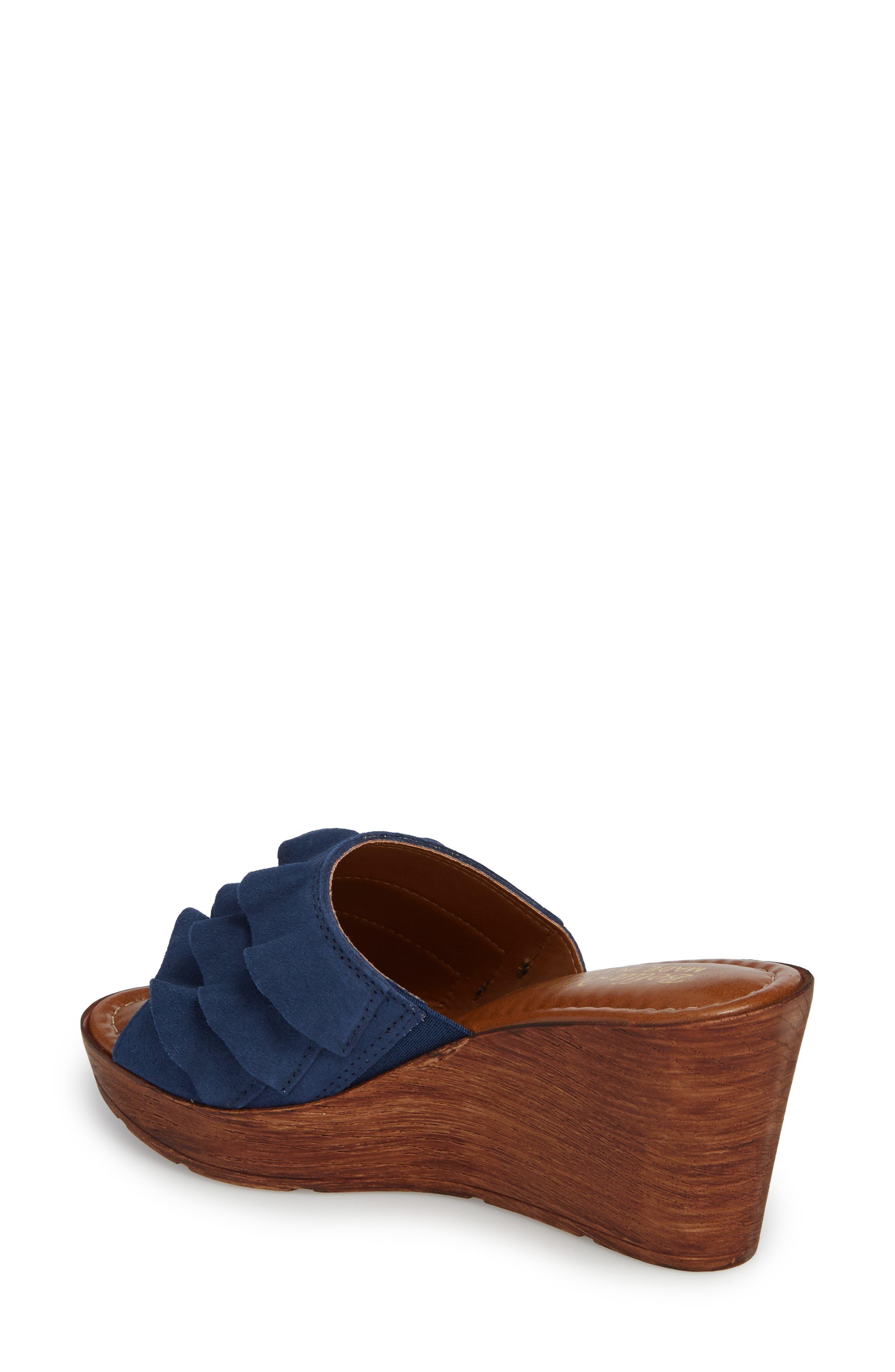 Bey Platform Wedge Sandal,                             Alternate thumbnail 2, color,                             NAVY SUEDE
