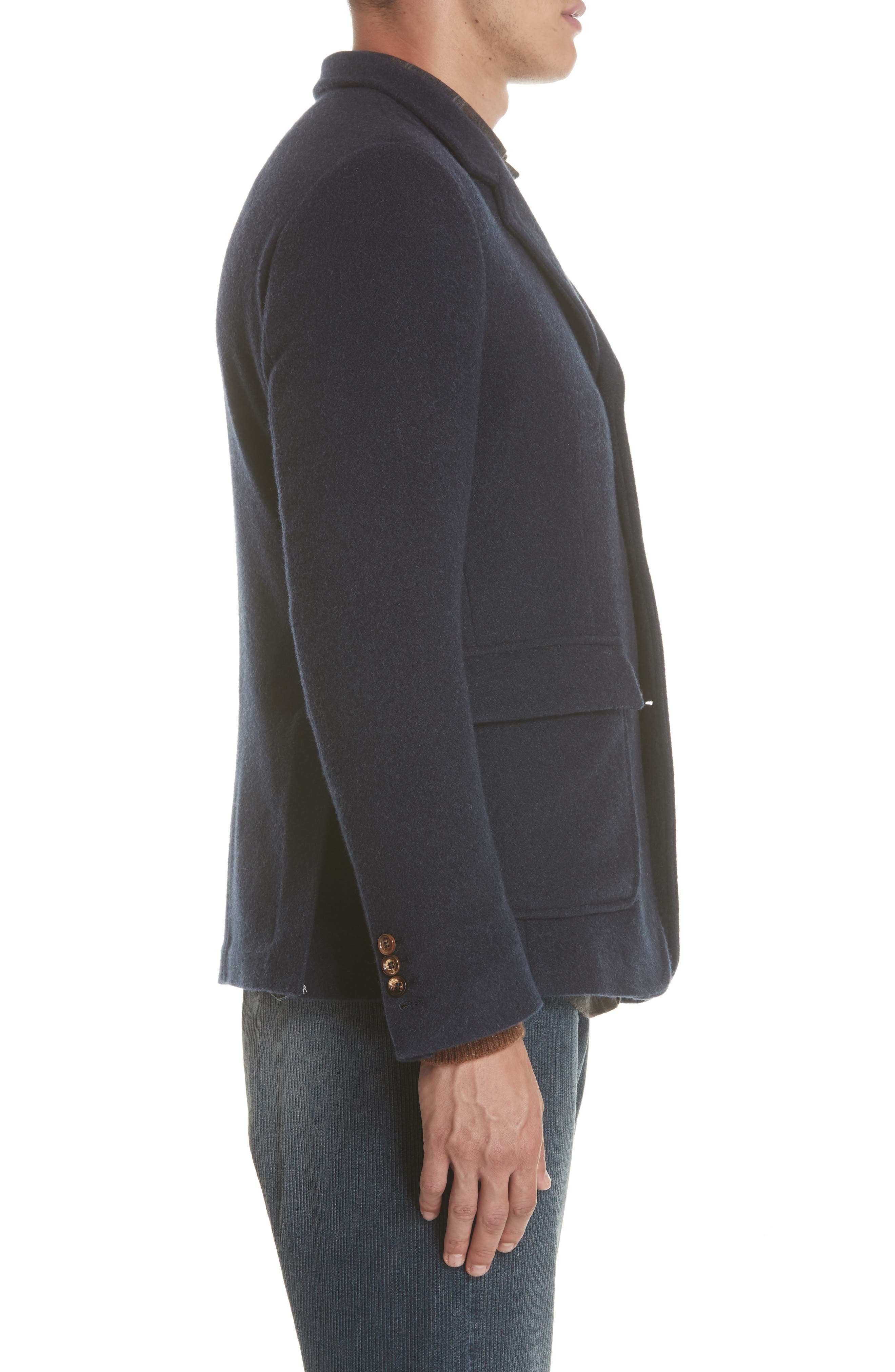 Wool & Cashmere Coat,                             Alternate thumbnail 3, color,                             NAVY