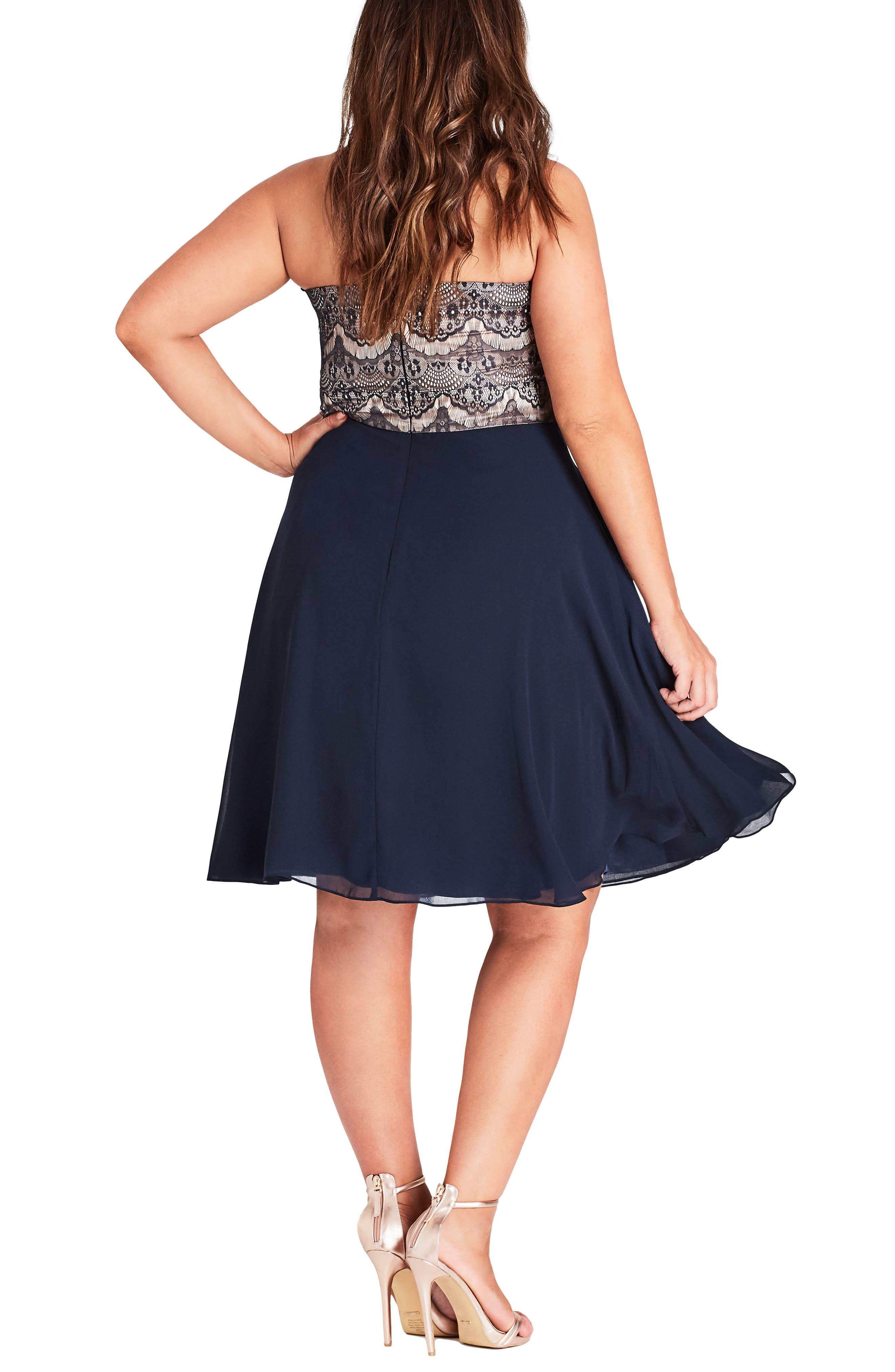 Eyelash Ebony Strapless Fit & Flare Dress,                             Alternate thumbnail 2, color,                             NAVY