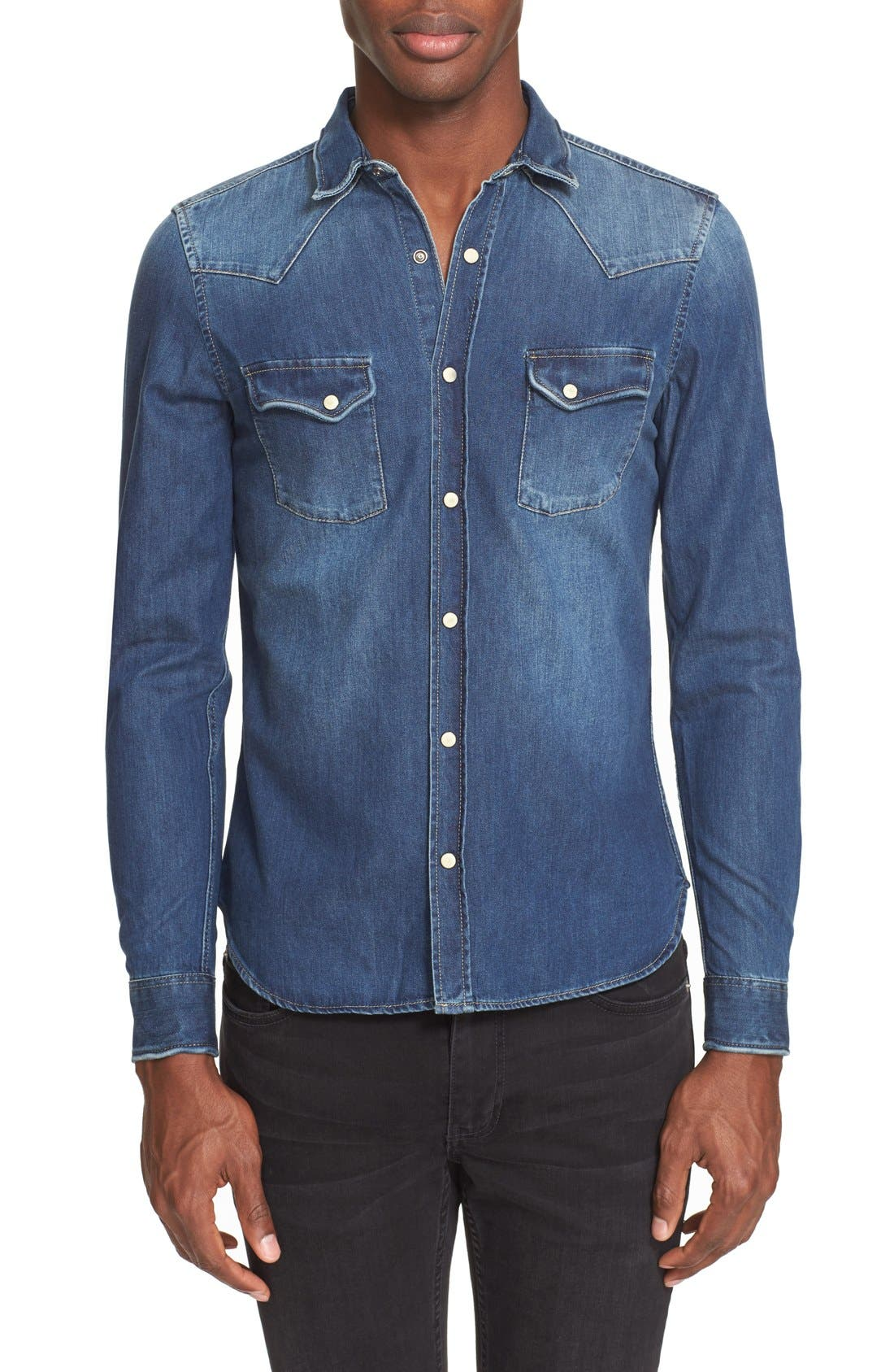 Trim Fit Washed Denim Western Shirt,                             Main thumbnail 1, color,                             BLUE