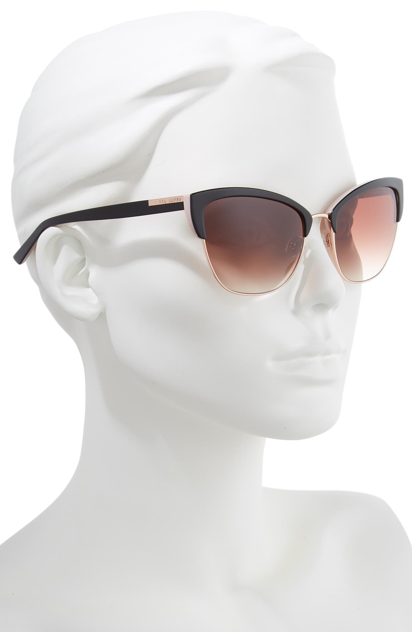 57mm Cat Eye Sunglasses,                             Alternate thumbnail 2, color,                             BLACK