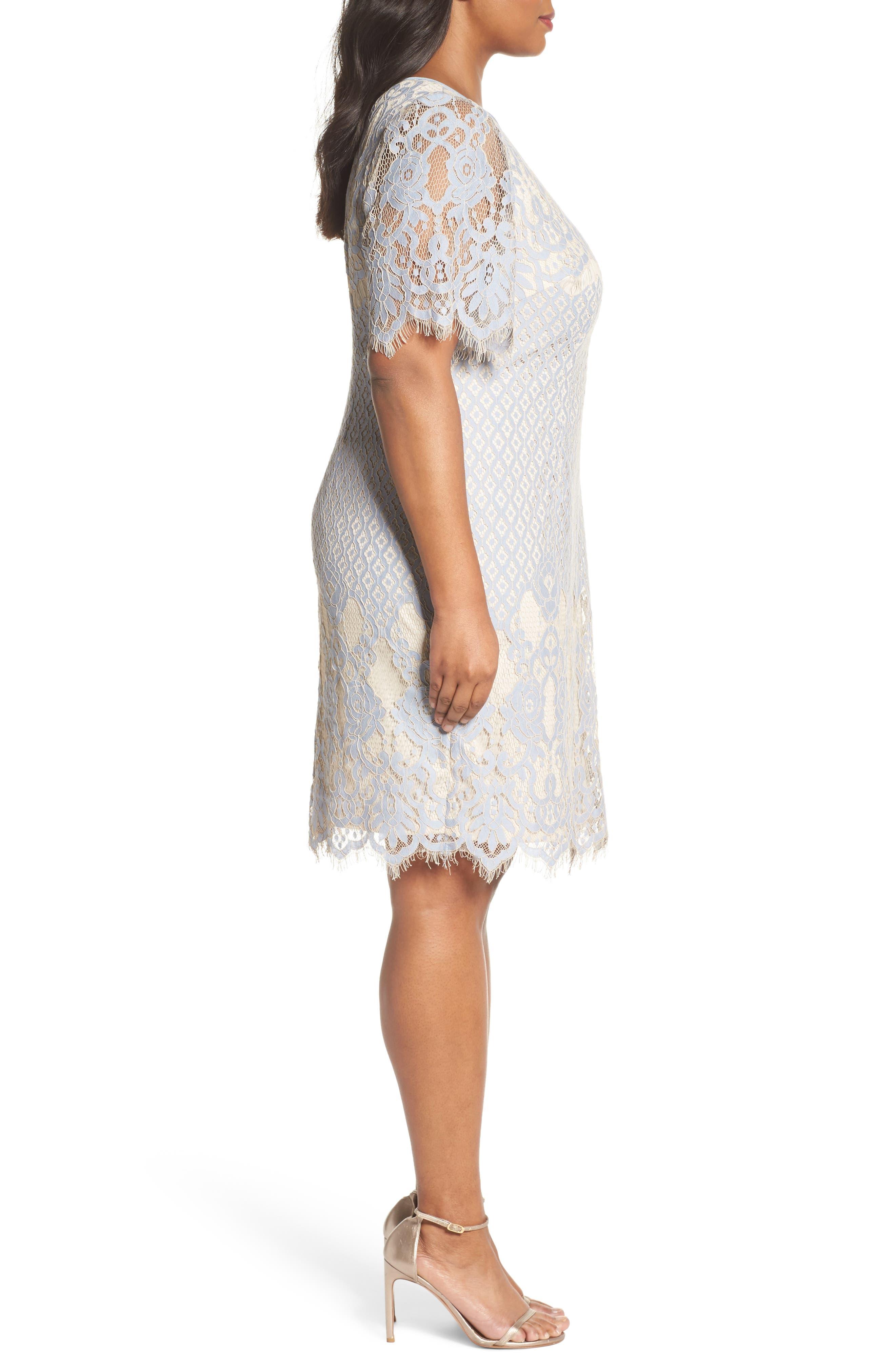 Bell Sleeve Georgia Lace Sheath Dress,                             Alternate thumbnail 3, color,                             497