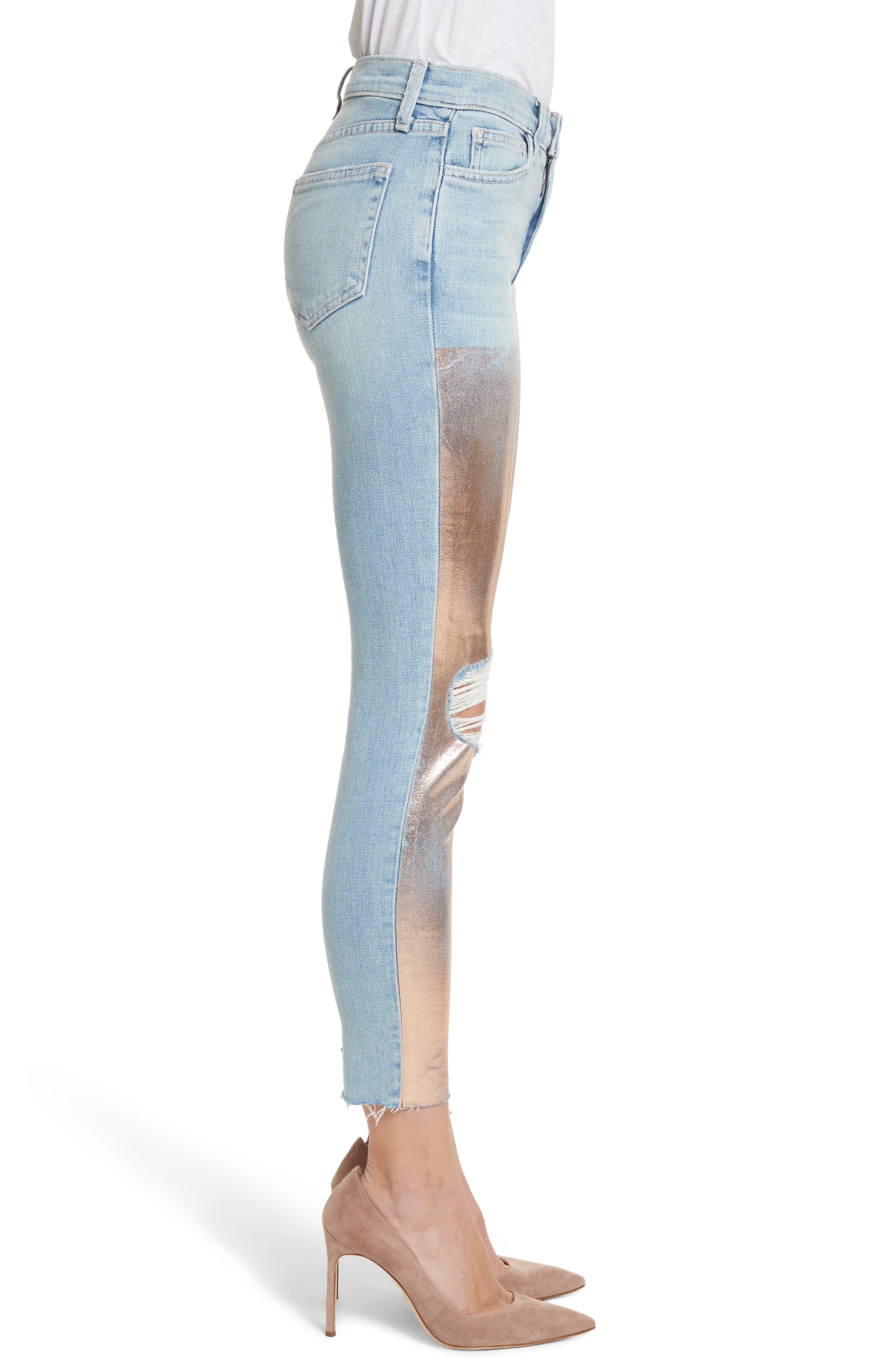 Marcelle Foil Crop Skinny Jeans,                             Alternate thumbnail 3, color,                             451