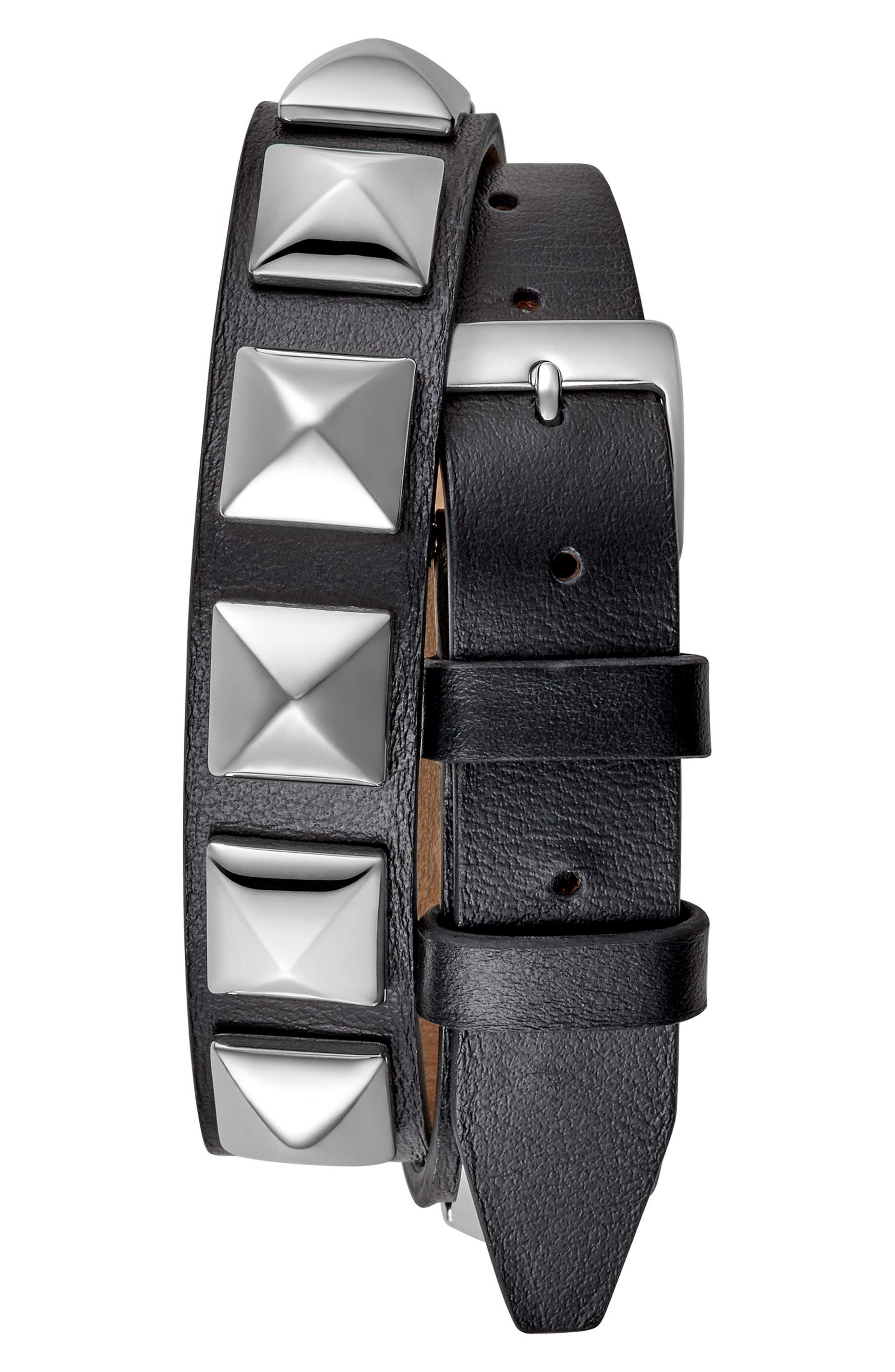 Wrap Leather Strap Watch, 19mm x 30mm,                             Alternate thumbnail 2, color,                             001