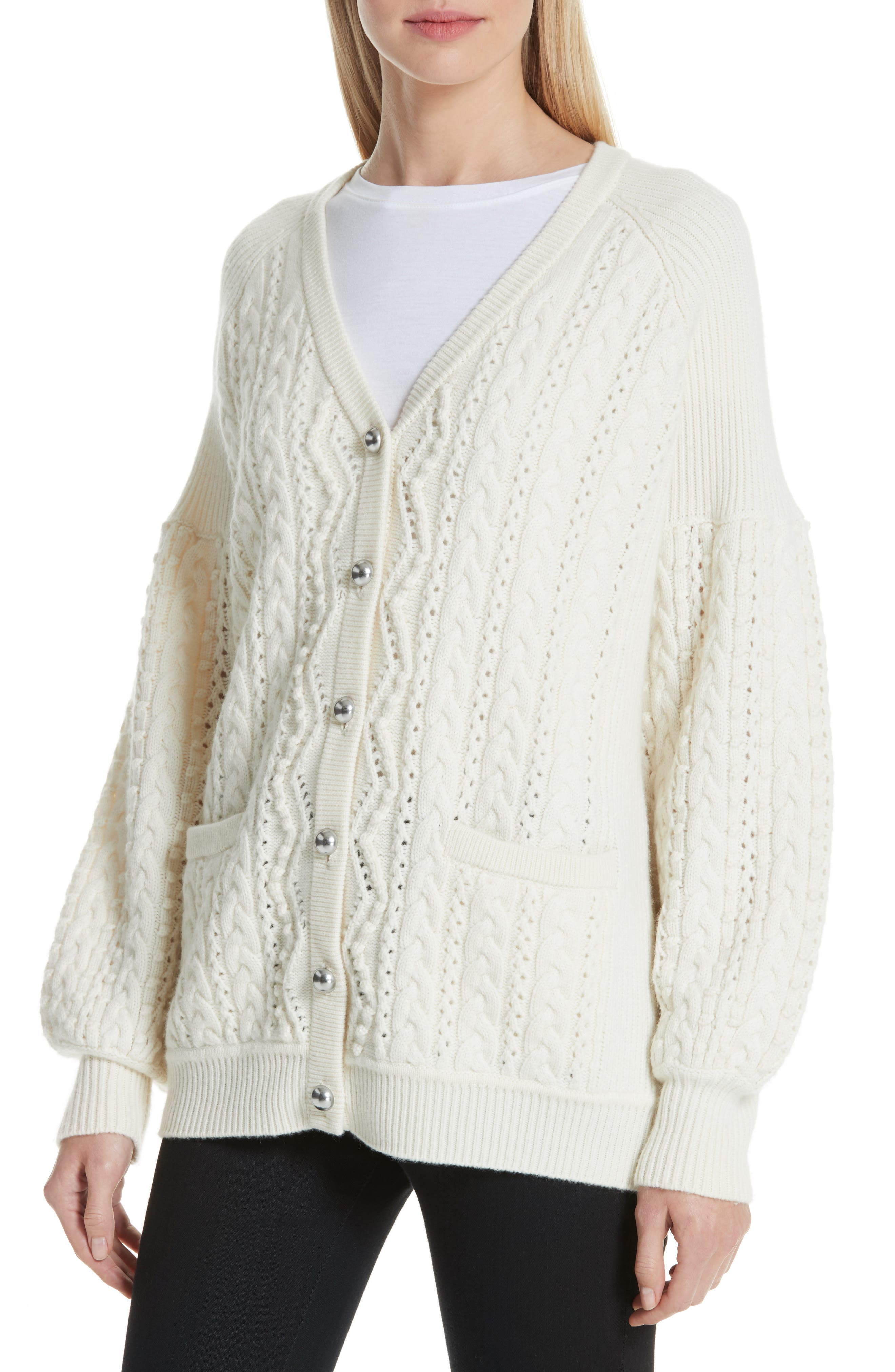 Cable Knit Wool & Cashmere Cardigan,                             Alternate thumbnail 4, color,                             IVORY