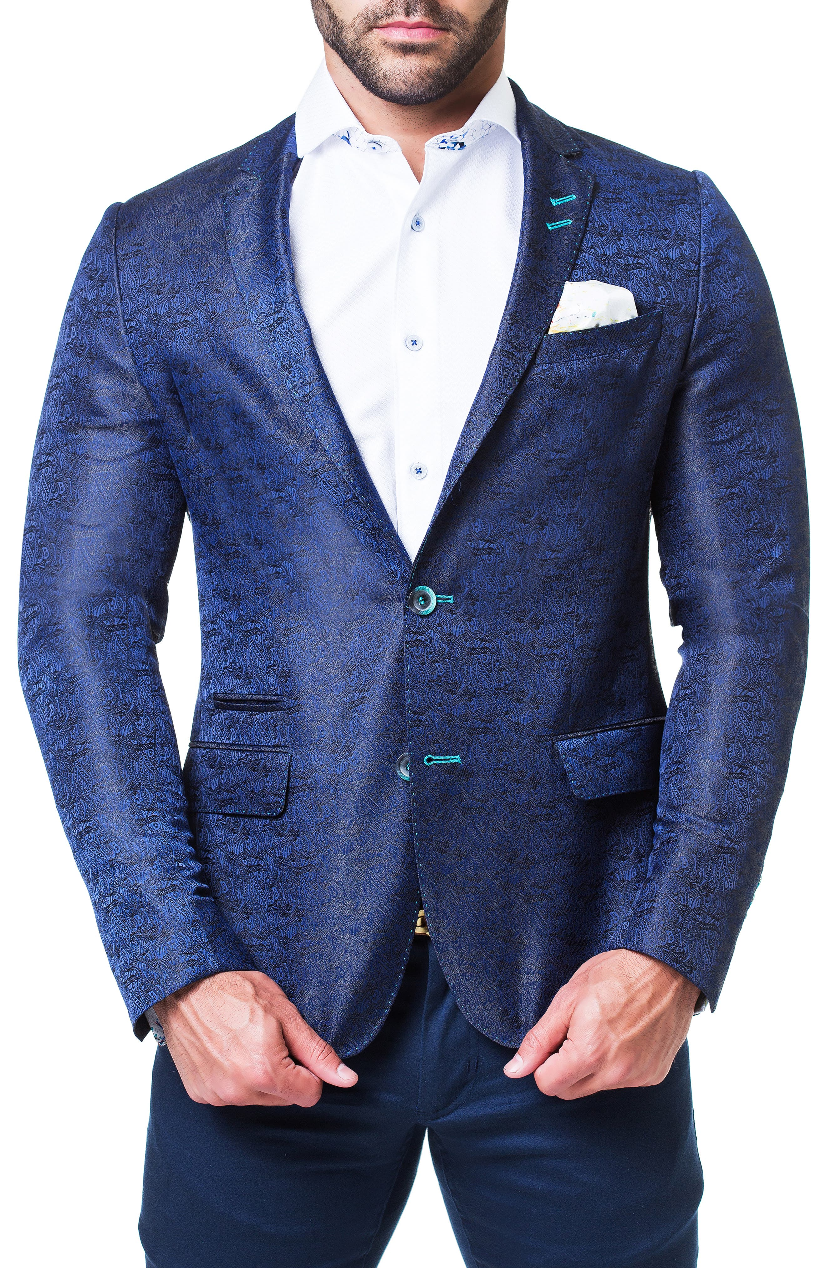 MACEOO Socrate Snake Jacquard Sport Coat in Blue