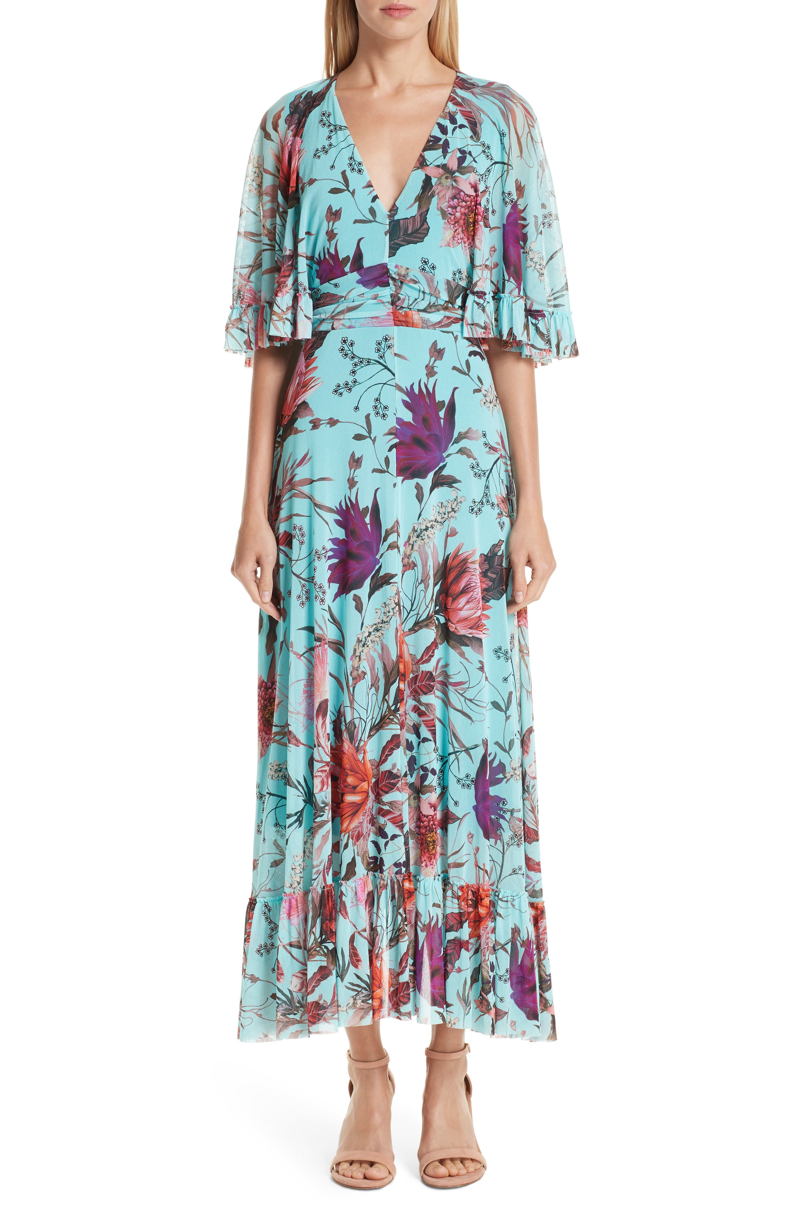 Fuzzi Floral Tulle Ruffle Maxi Dress, Blue