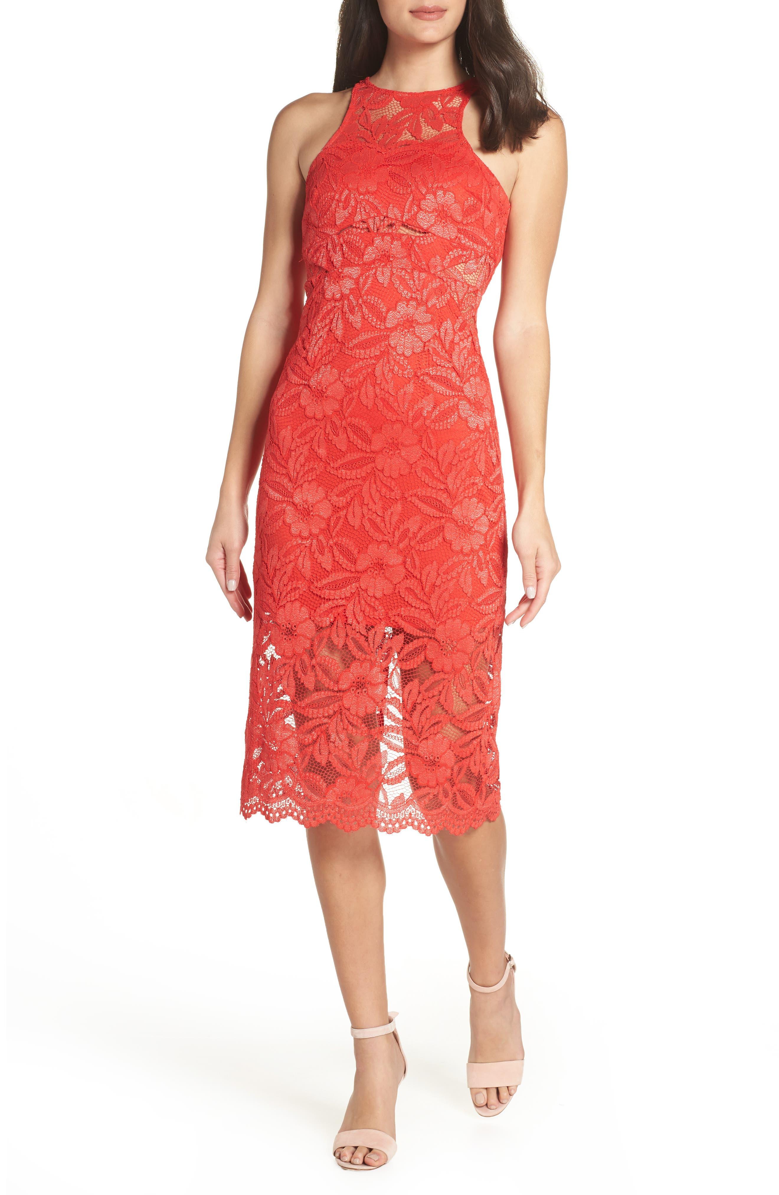 Erin Lace Midi Sheath Dress,                         Main,                         color, RED