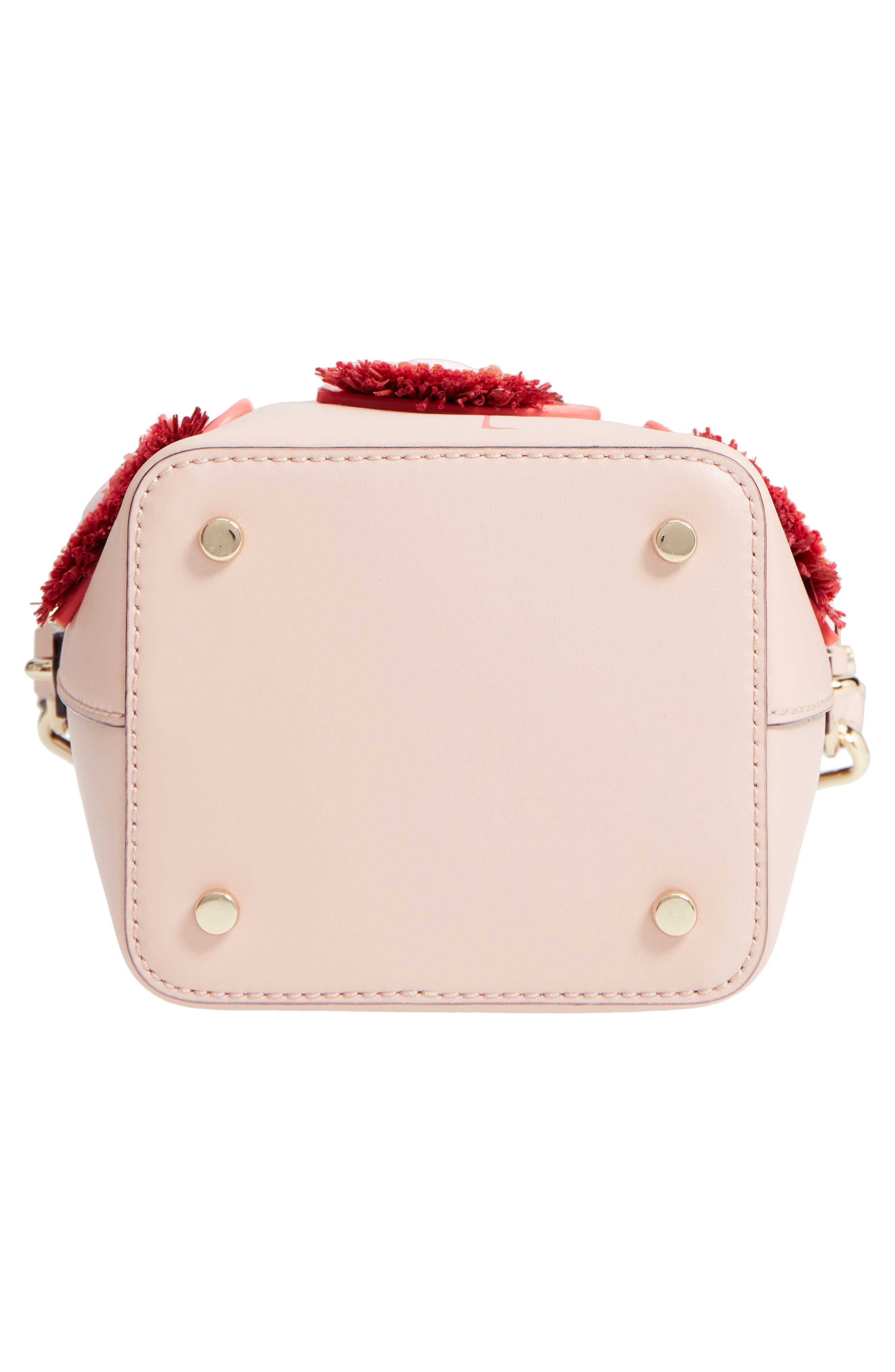 by the pool - flamingo pippa leather bucket bag,                             Alternate thumbnail 6, color,                             650