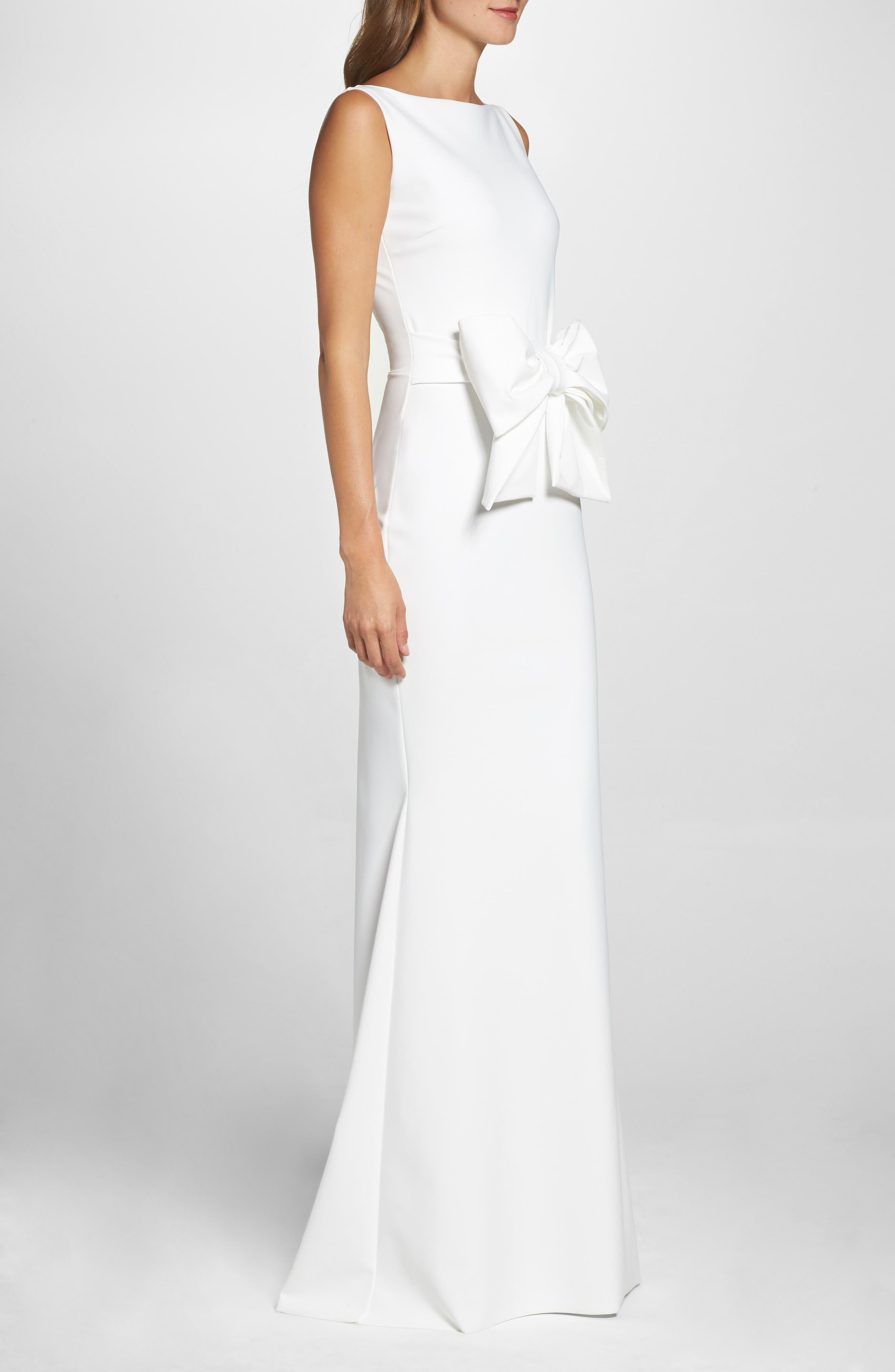 CHIARA BONI LA PETITE ROBE,                             Bow Detail Sleeveless Gown,                             Alternate thumbnail 3, color,                             100