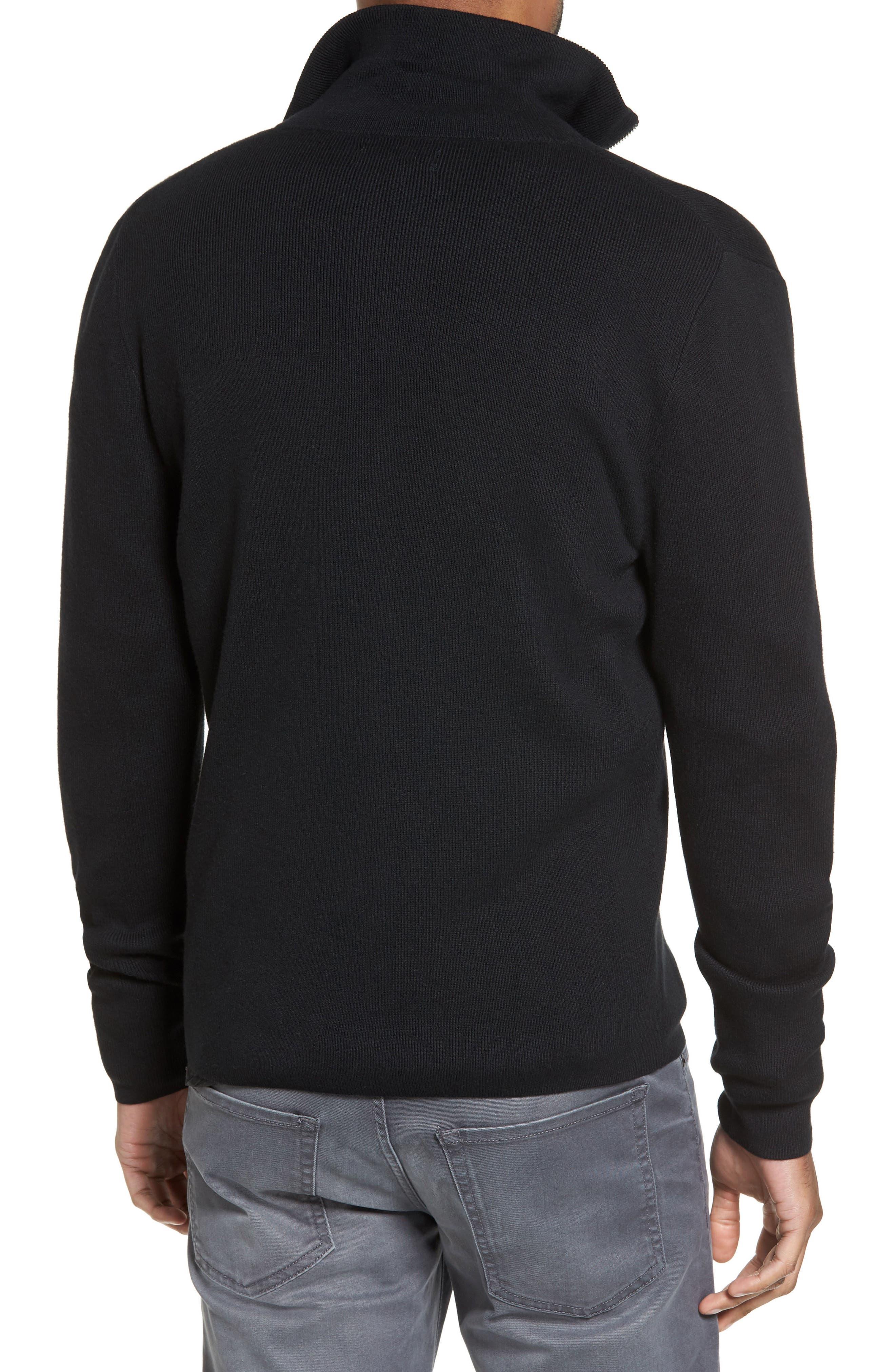 Zip Front Sweater Jacket,                             Alternate thumbnail 2, color,                             BLACK