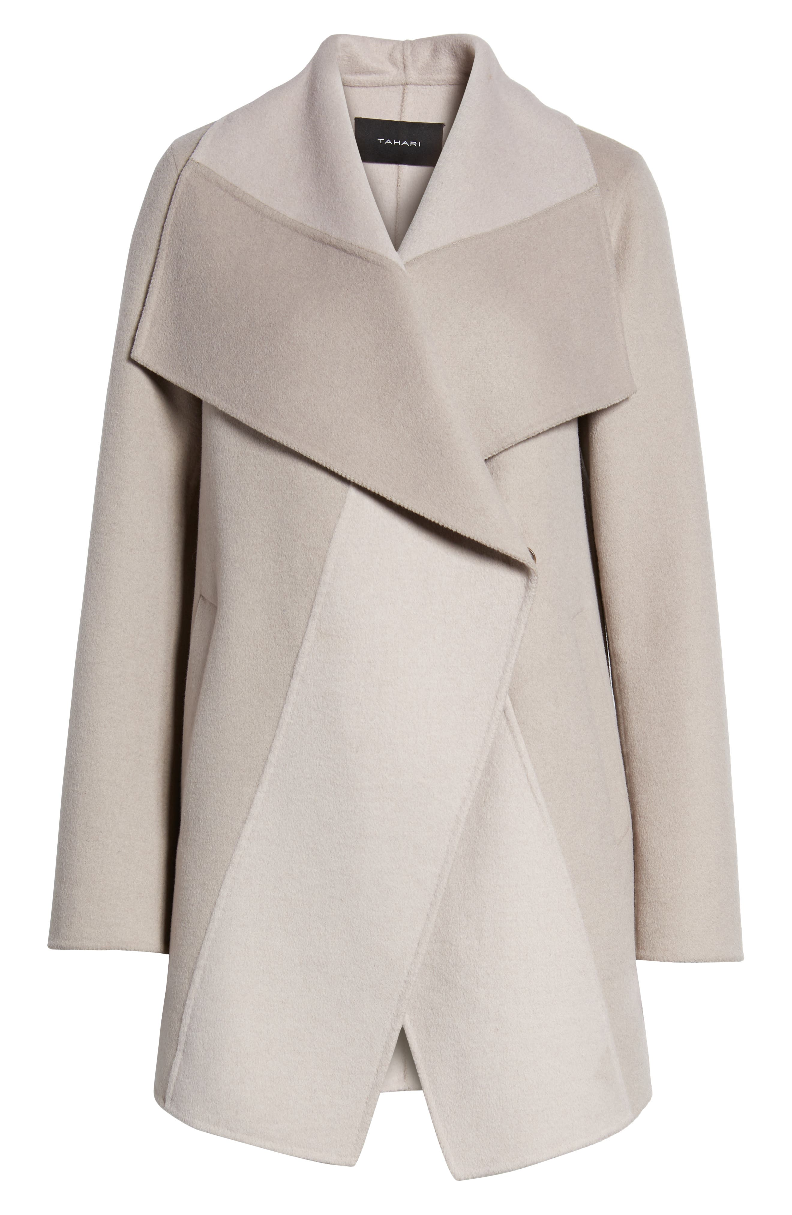 Nicky Double Face Wool Blend Oversize Coat,                             Alternate thumbnail 6, color,                             OYSTER BAY/ BROWN SUGAR