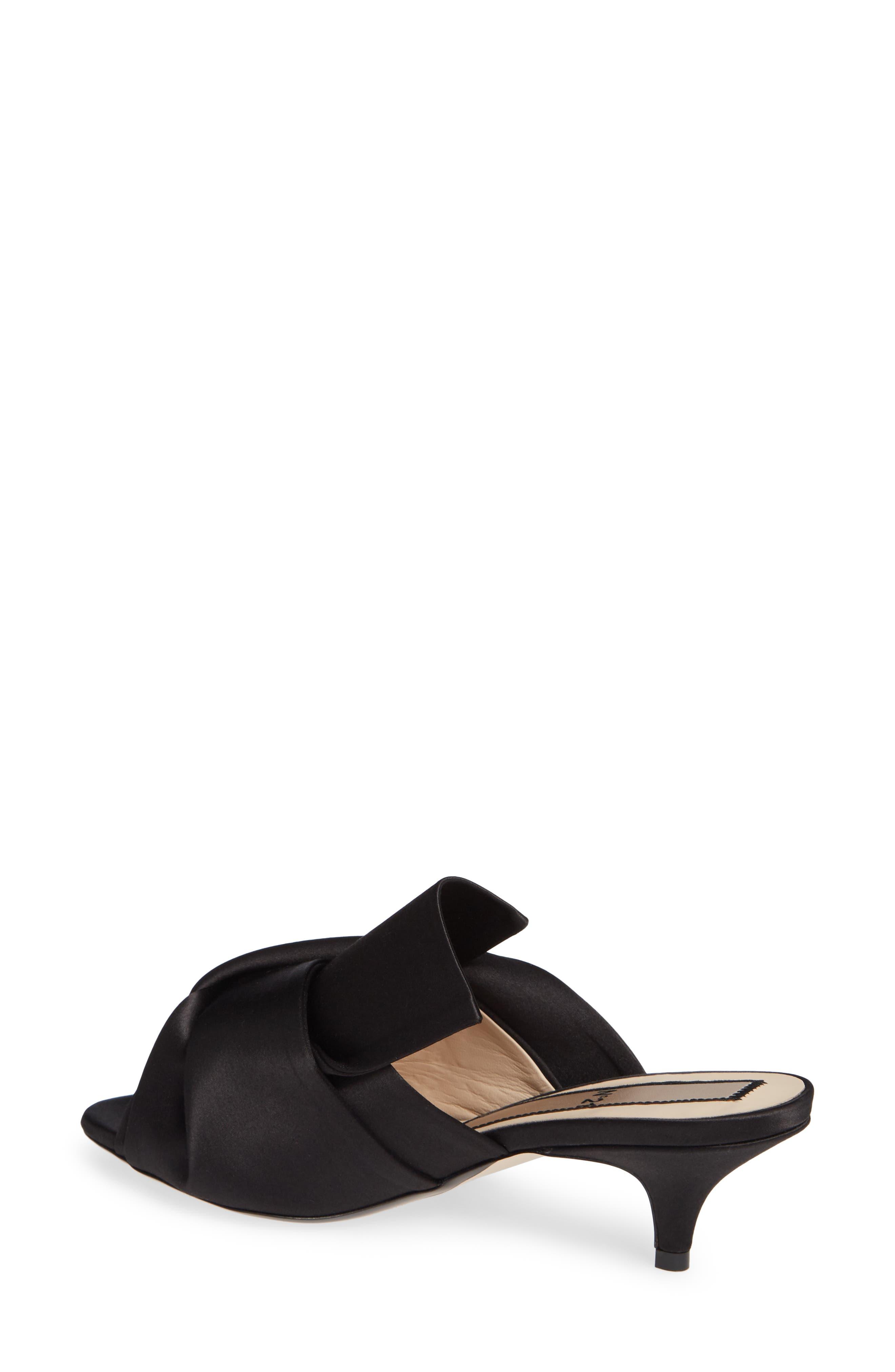 Bow Slide Sandal,                             Alternate thumbnail 2, color,                             BLACK