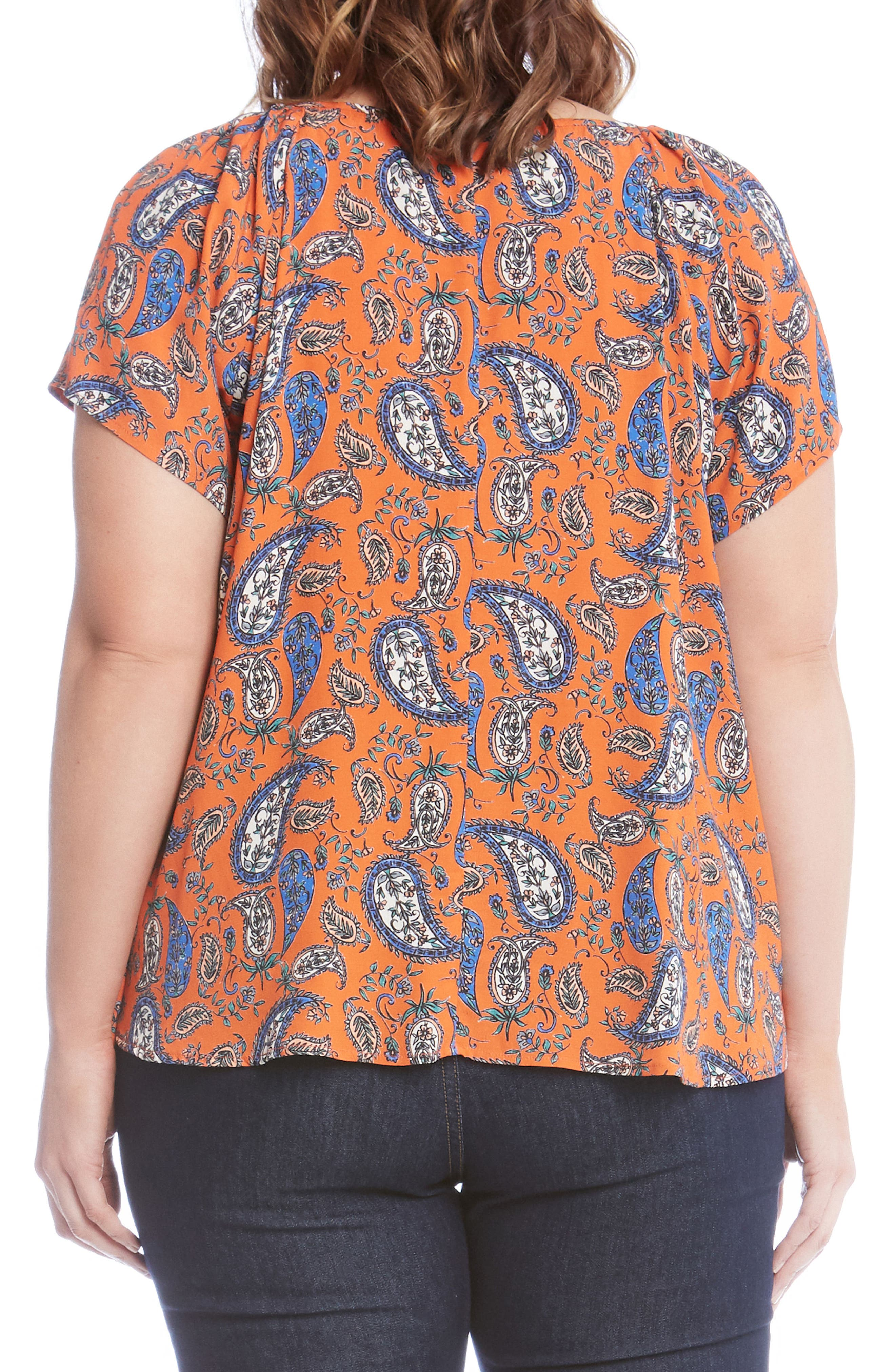 Bell Sleeve Paisley Top,                             Alternate thumbnail 2, color,                             860