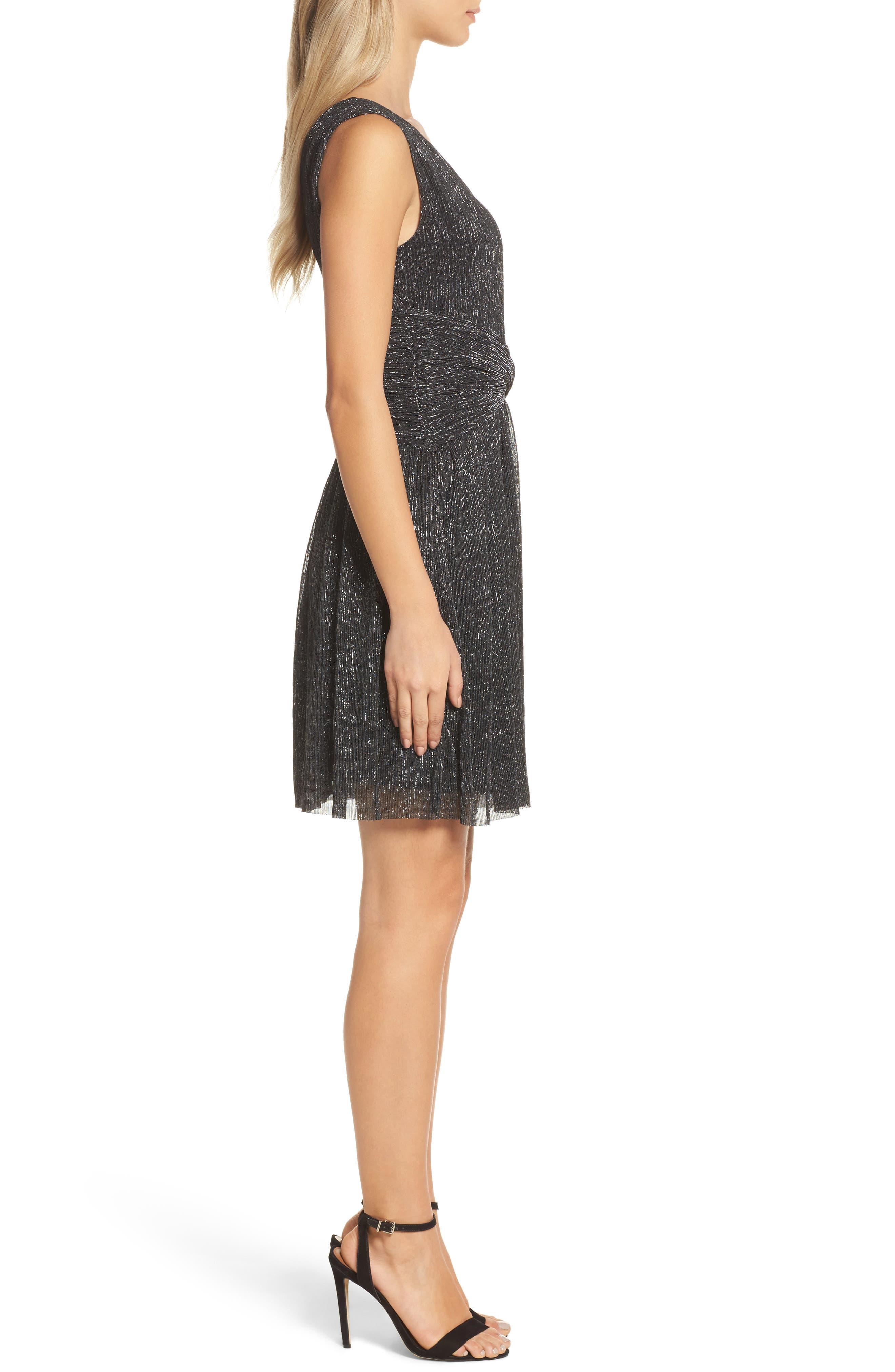 Marcelle Fit & Flare Dress,                             Alternate thumbnail 3, color,                             001