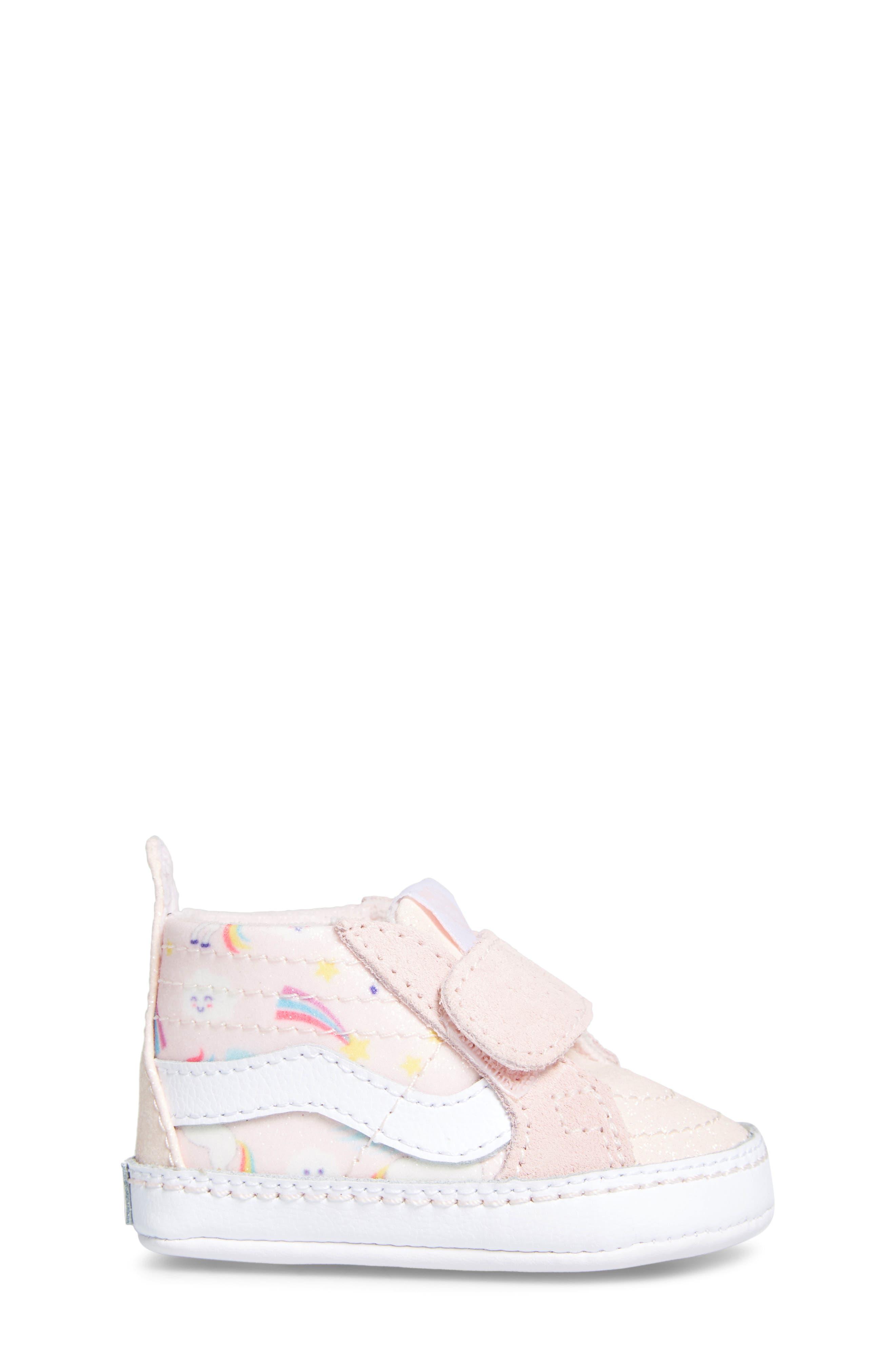 'SK8-Hi' Crib Sneaker,                             Alternate thumbnail 3, color,                             GLITTER PEGASUS PINK/ WHITE