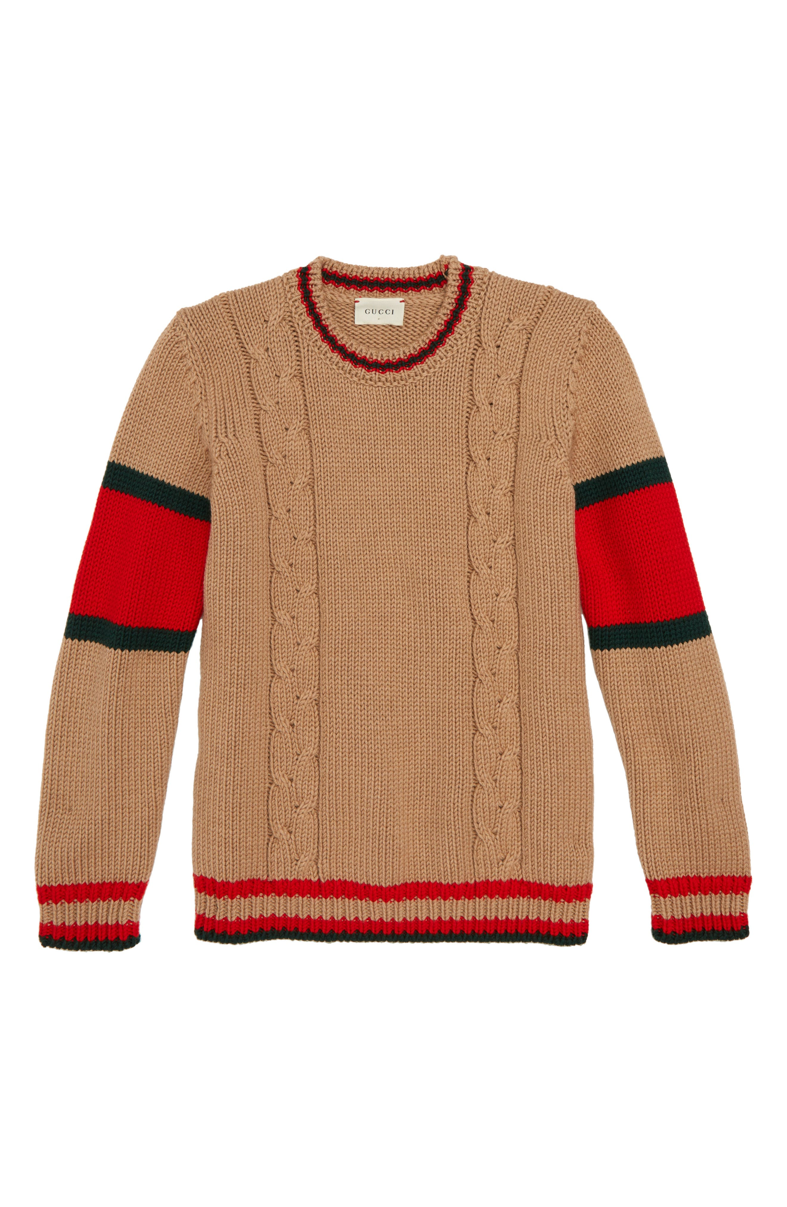 Crewneck Wool Sweater,                         Main,                         color, CAMEL/ GREEN/ RED