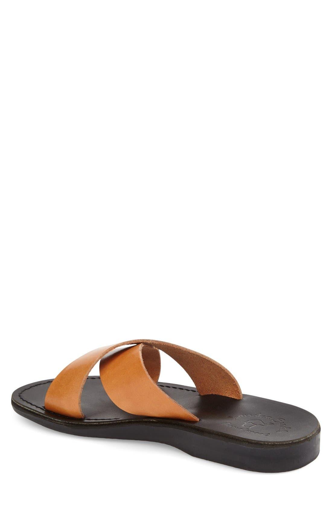 'Elan' Slide Sandal,                             Alternate thumbnail 6, color,                             TAN LEATHER/ BLACK