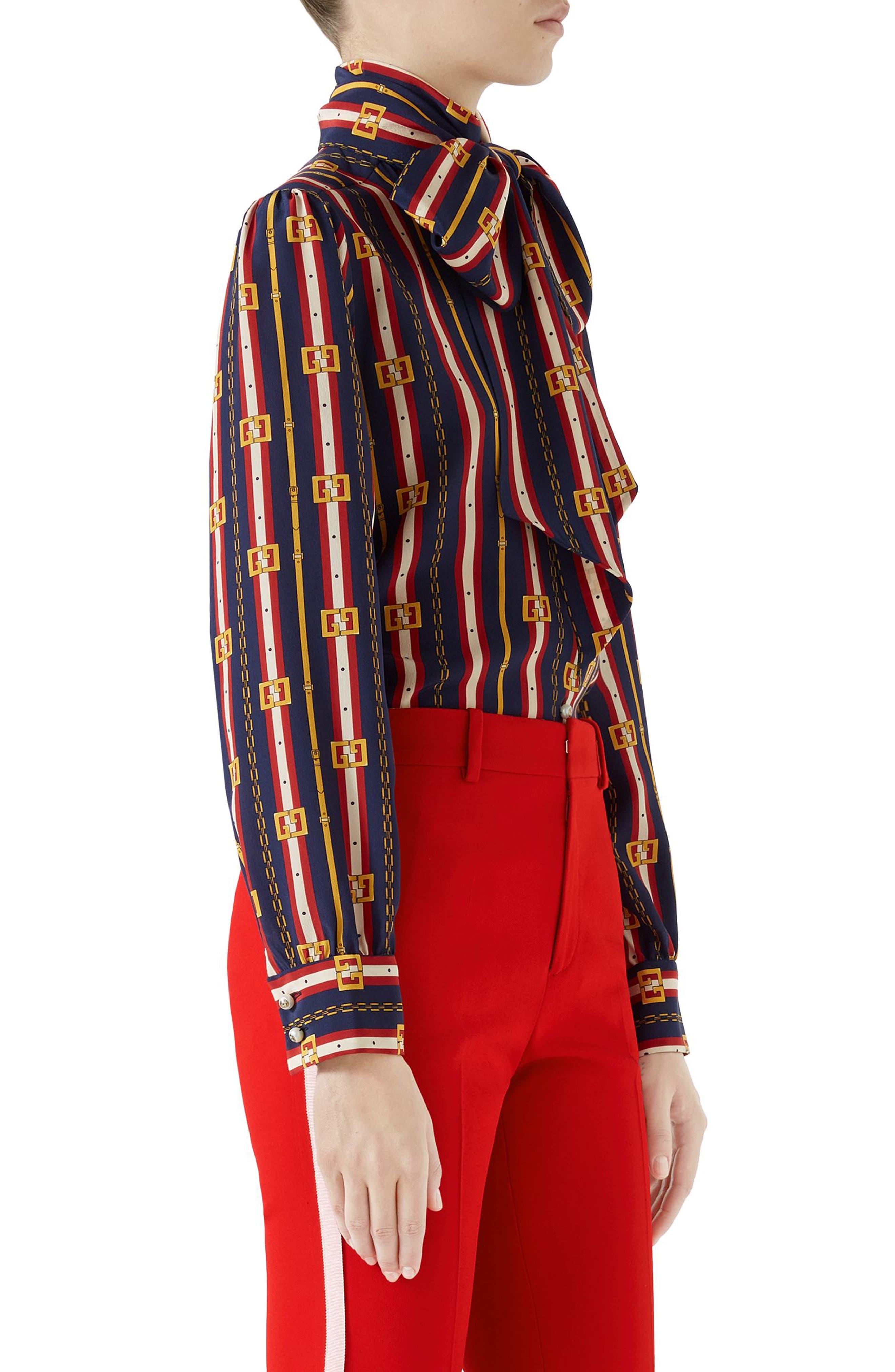 Chain Belt Print Silk Bow Neck Blouse,                             Alternate thumbnail 3, color,                             BLUE/ RED PRINT