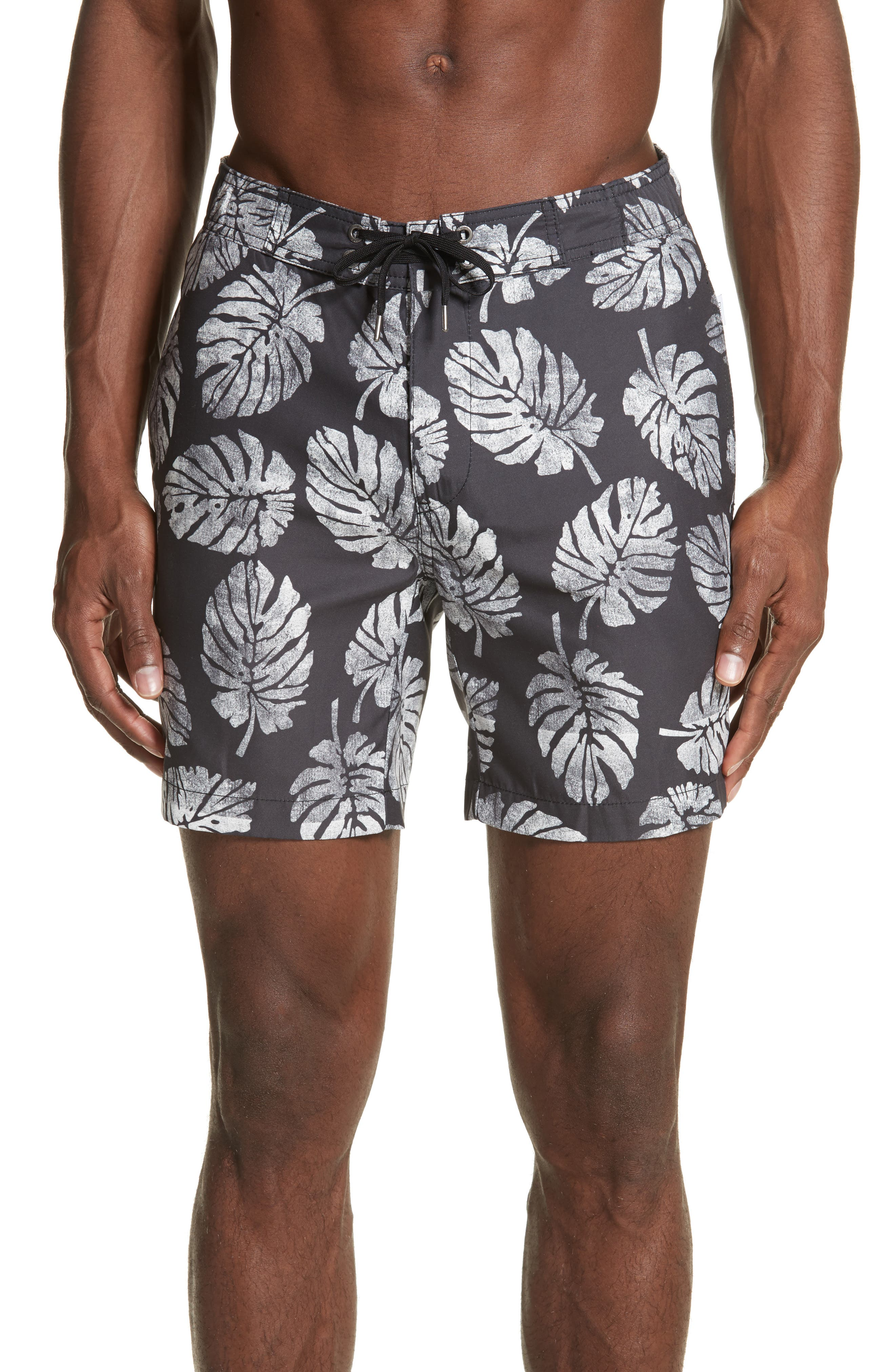 Palm Stamps Alek Board Shorts,                             Main thumbnail 1, color,                             CHARCOAL/ WHITE