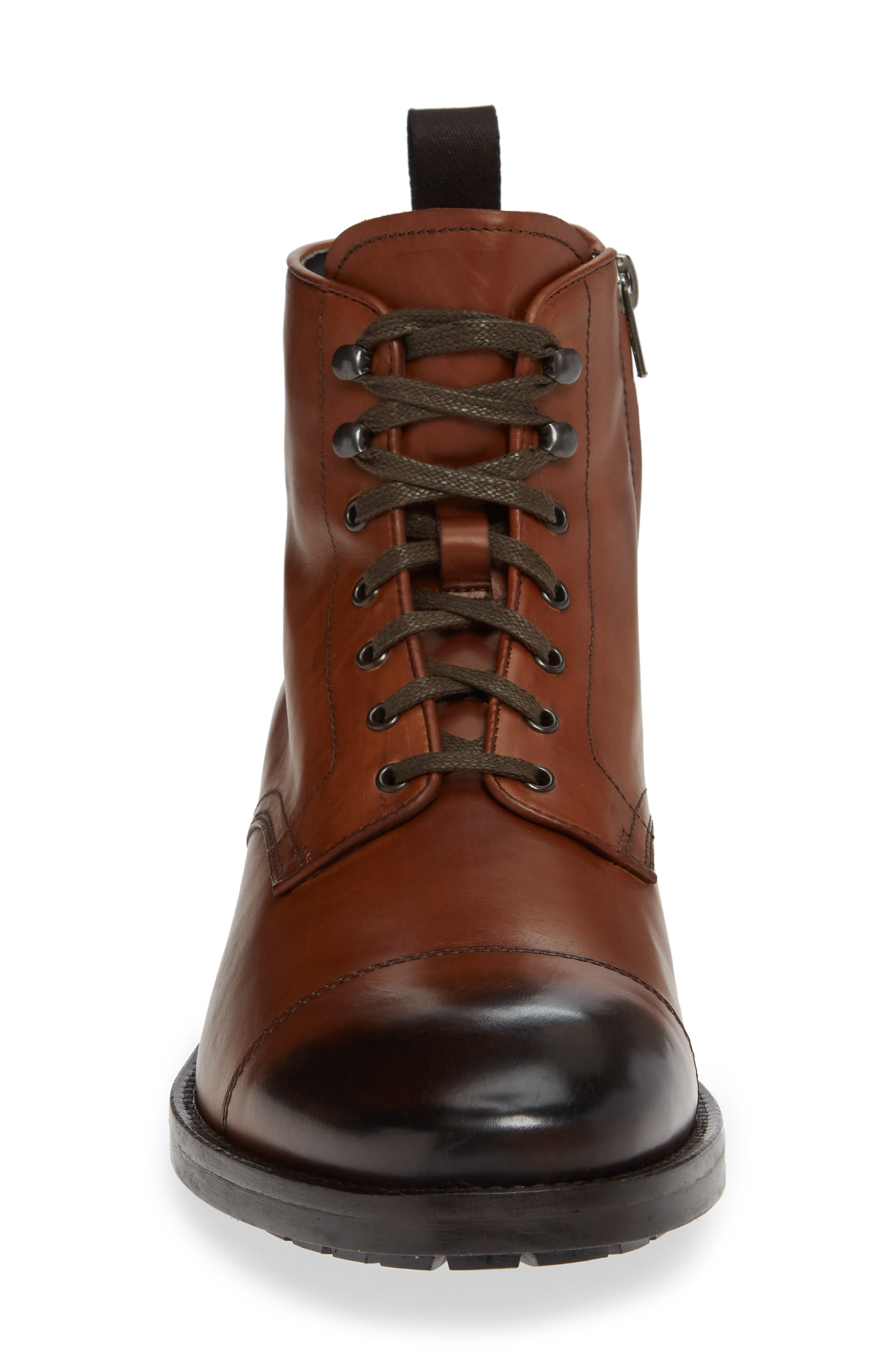 Concord Cap Toe Boot,                             Alternate thumbnail 4, color,                             BROWN LEATHER