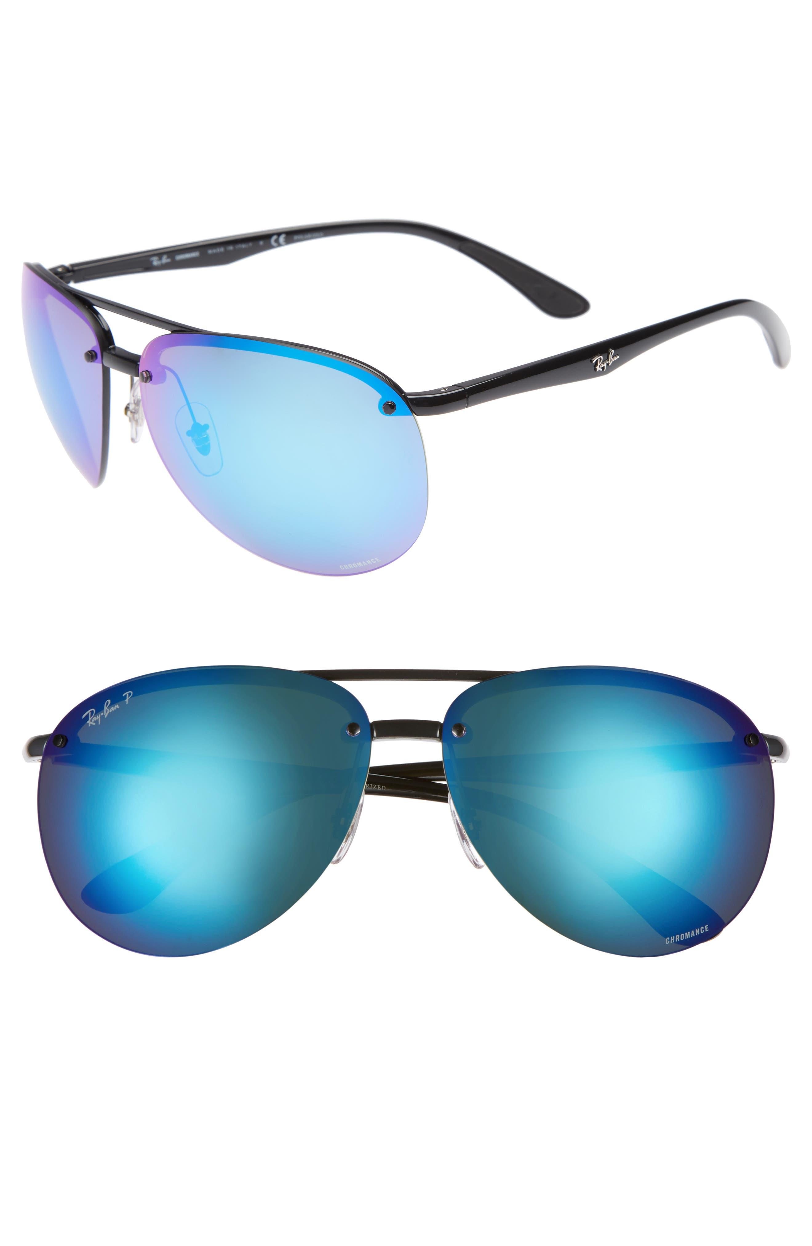 65mm Chromance Polarized Aviator Sunglasses,                         Main,                         color, BLACK