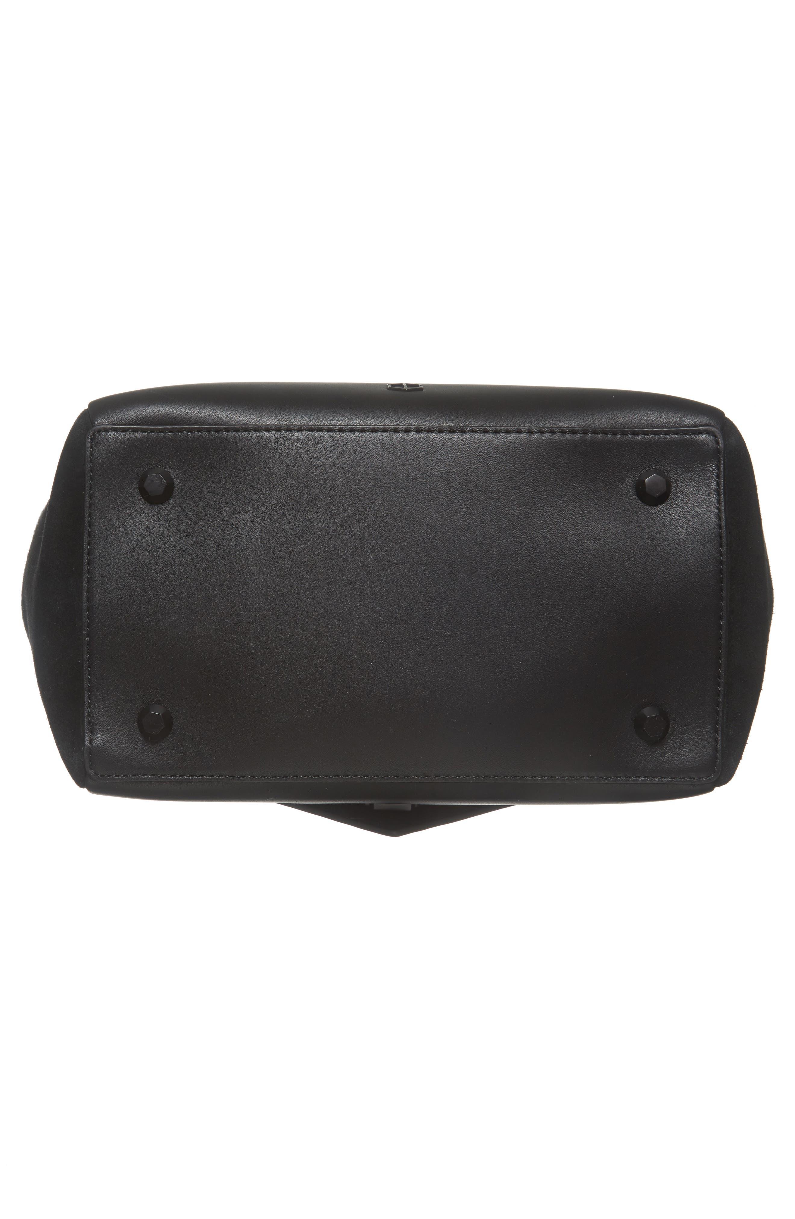 Saunter Colorblocked Leather & Suede Top Handle Satchel,                             Alternate thumbnail 6, color,                             003