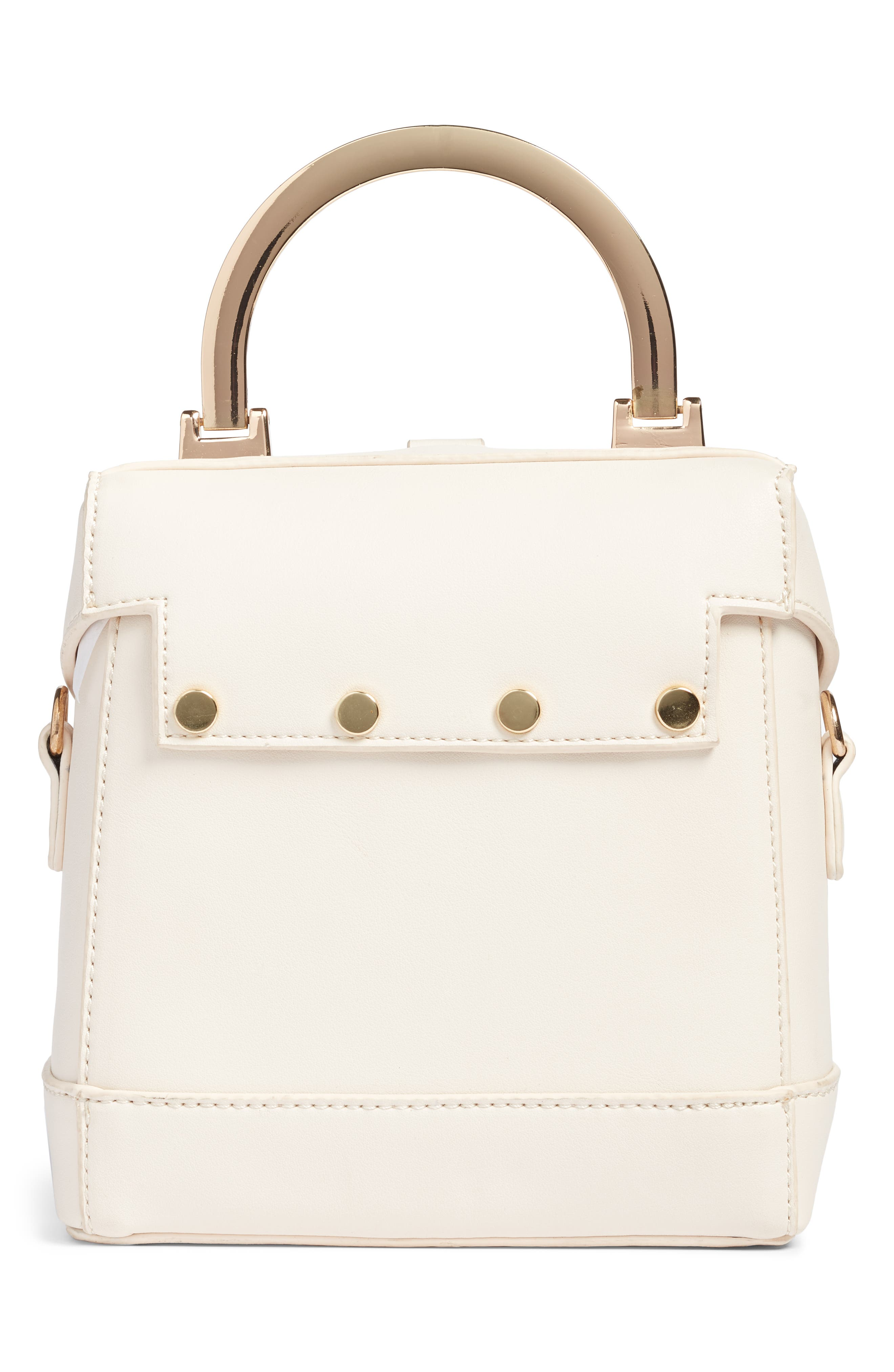 Top Handle Studded Bag,                             Alternate thumbnail 2, color,                             WHITE
