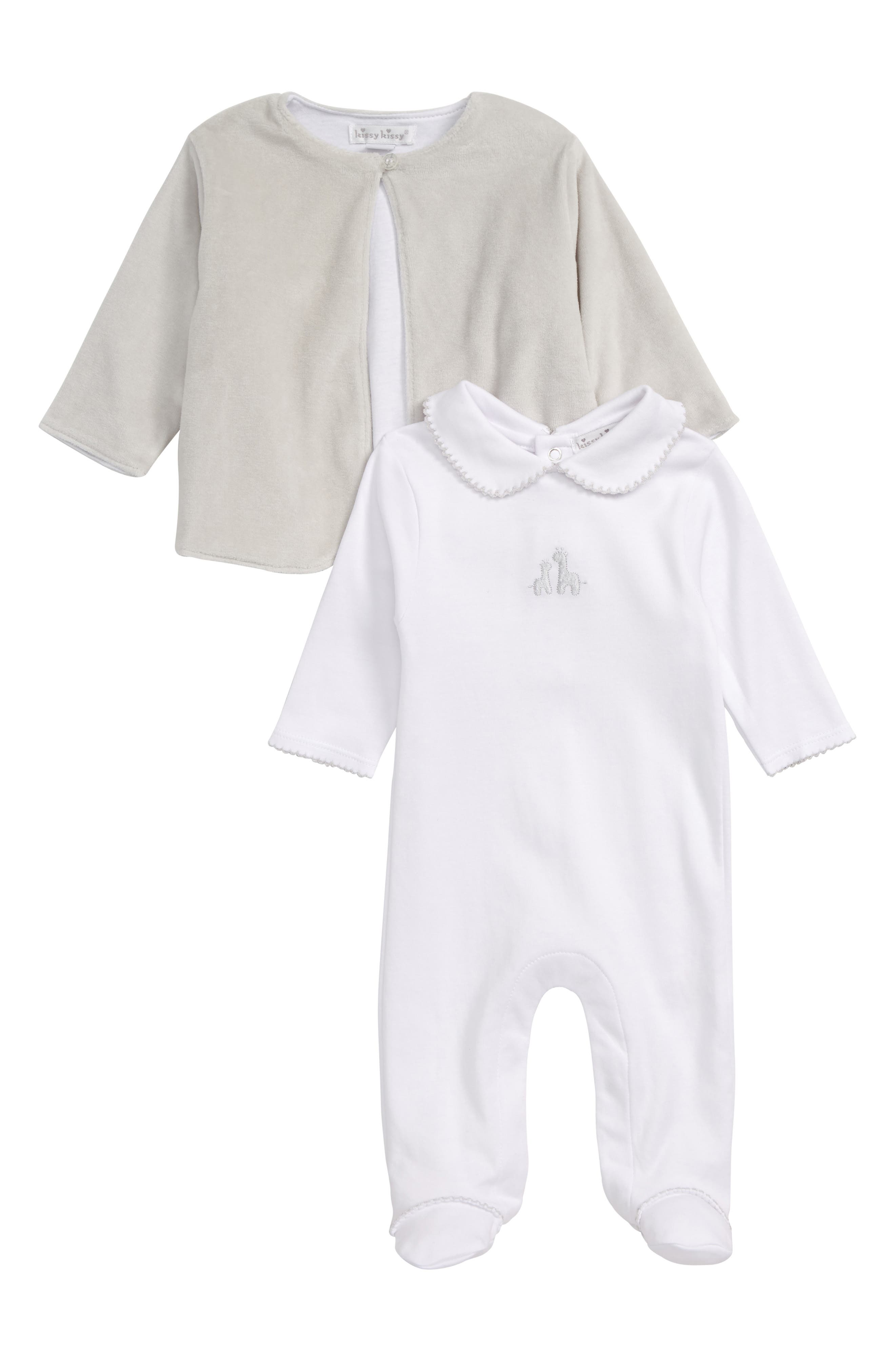 KISSY KISSY Two by Two Footie & Velour Jacket Set, Main, color, WHITE/ SILVER