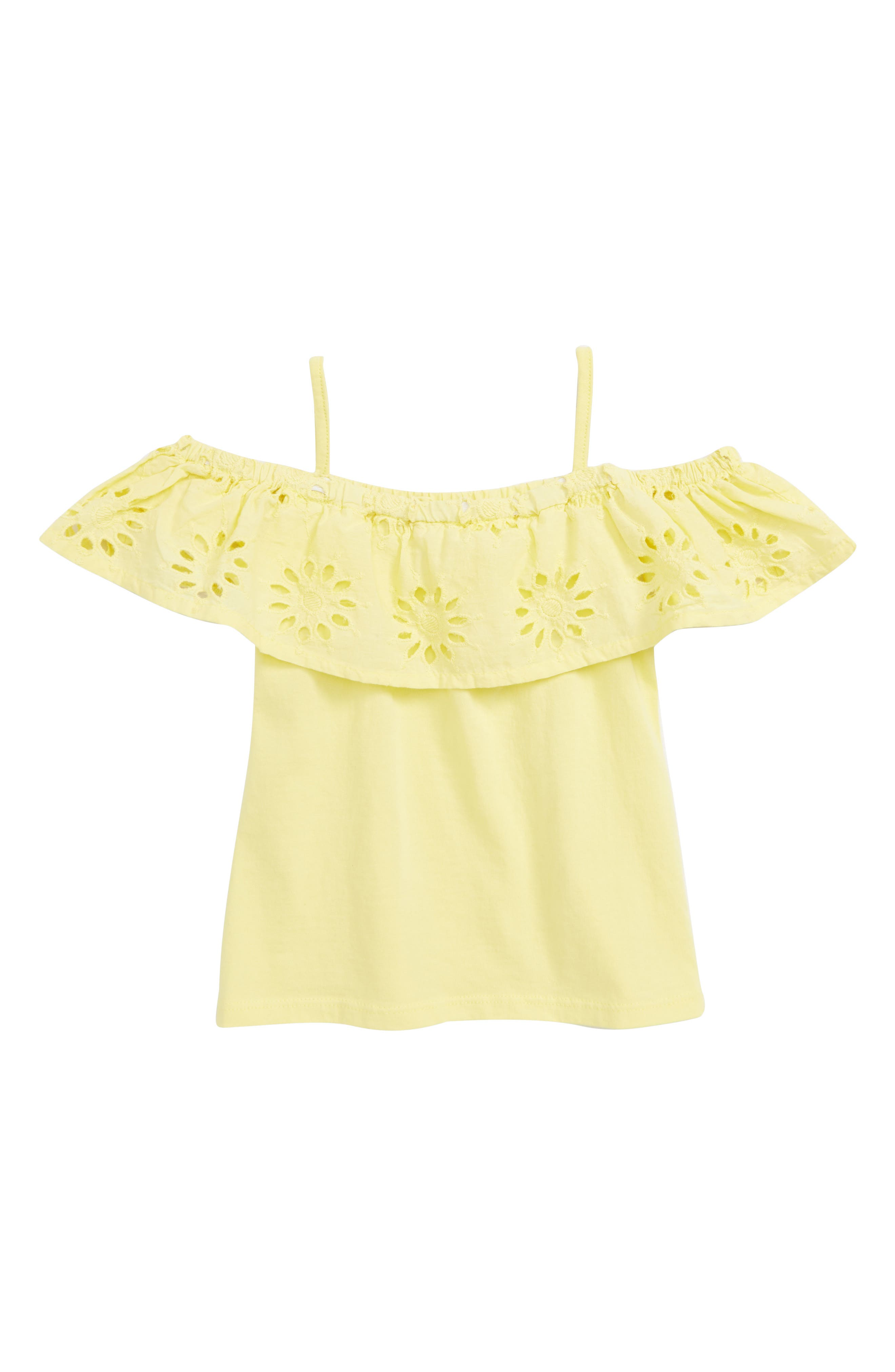 PEEK AREN'T YOU CURIOUS,                             Raelyn Embroidered Top,                             Main thumbnail 1, color,                             YELLOW